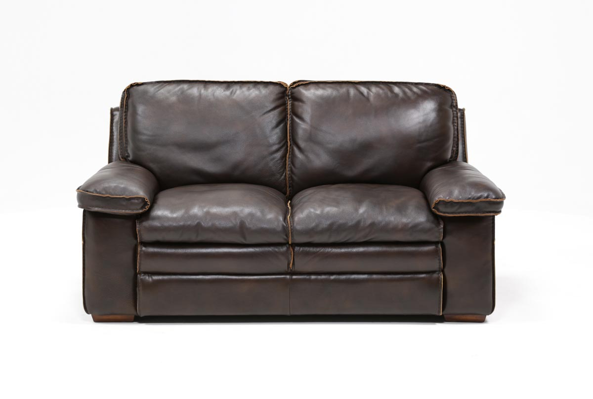 Walter Leather Loveseat | Living Spaces Throughout Walter Leather Sofa Chairs (Image 17 of 20)