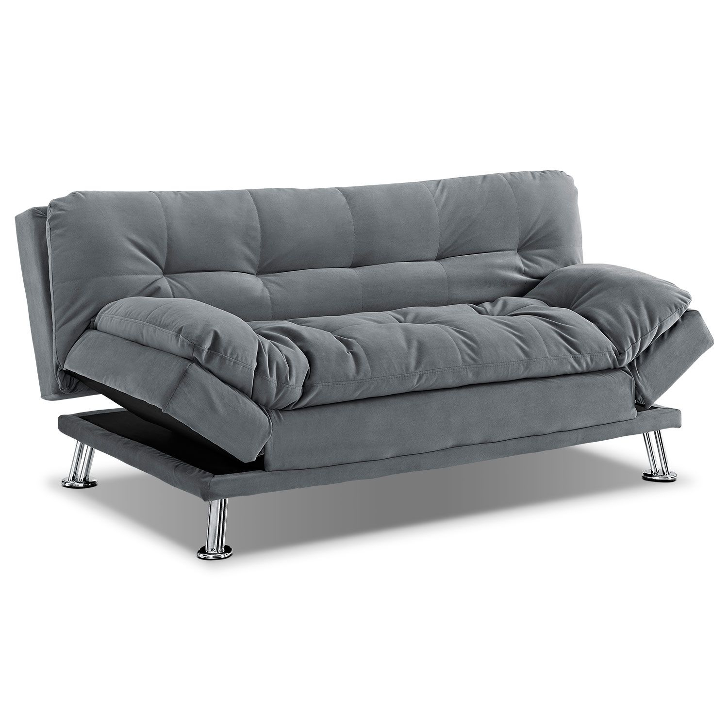 Waltz Gray Futon Sofa Bed | Value City Furniture | Bel Air Move For Moana Blue Leather Power Reclining Sofa Chairs With Usb (Photo 8 of 20)