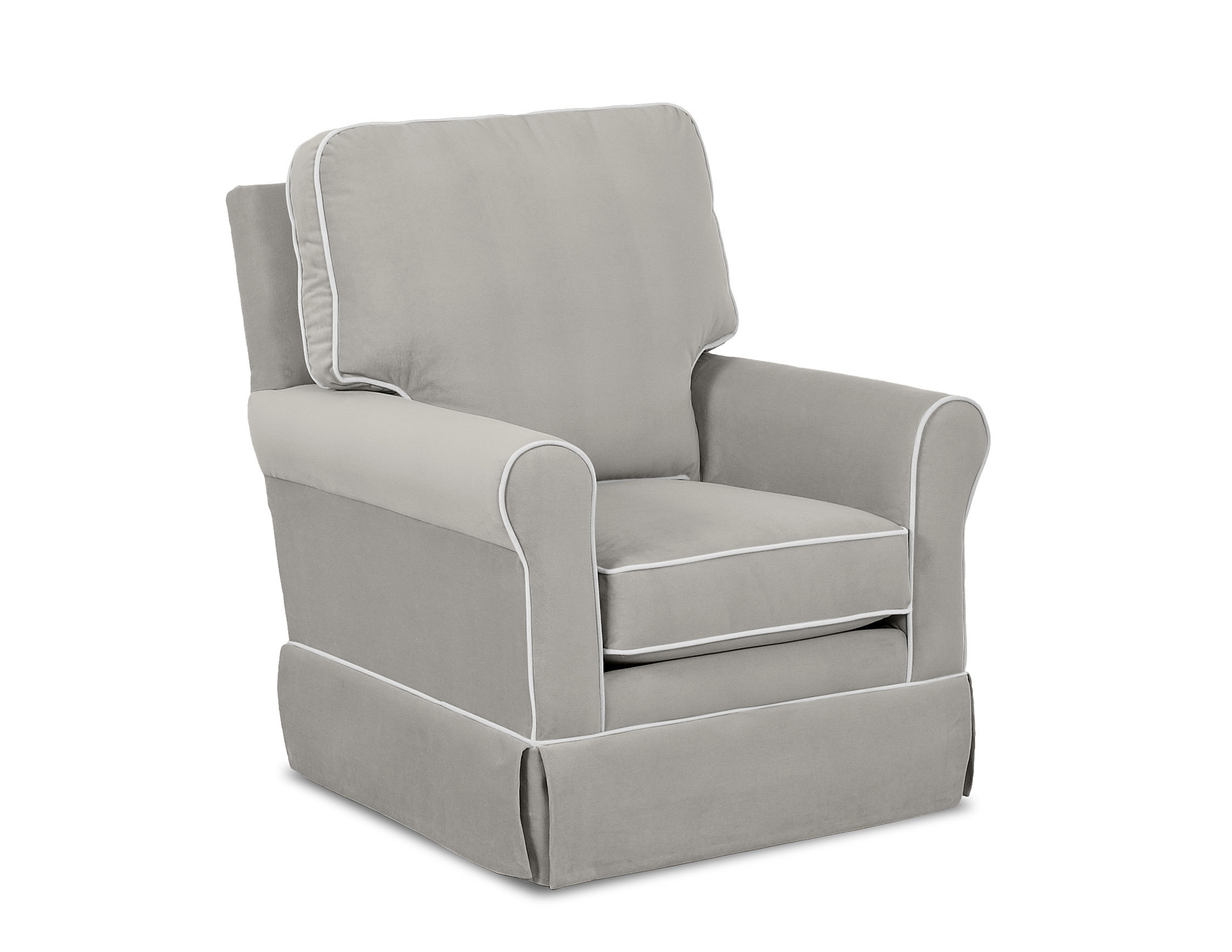Wayfair Custom Upholstery™ Bridgeport Swivel Glider With Contrasting Regarding Katrina Grey Swivel Glider Chairs (Image 18 of 20)