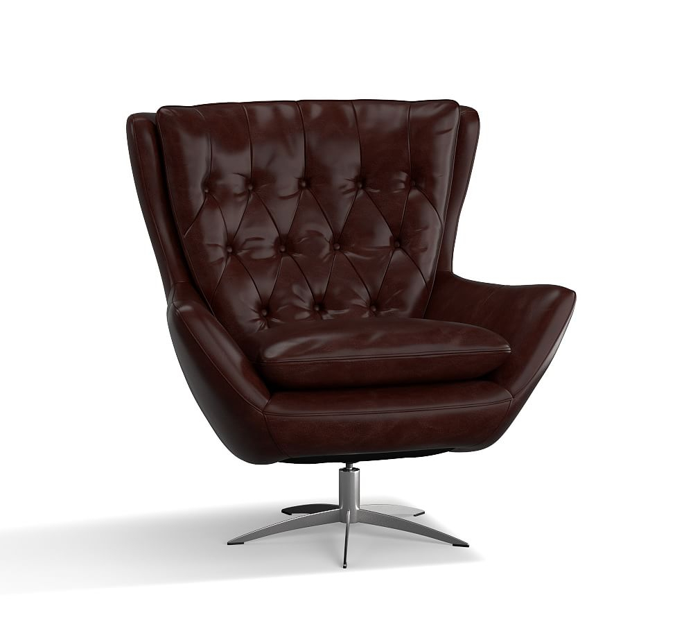 Wells Leather Swivel Armchair, Polyester Wrapped Cushions Regarding Espresso Leather Swivel Chairs (Image 20 of 20)