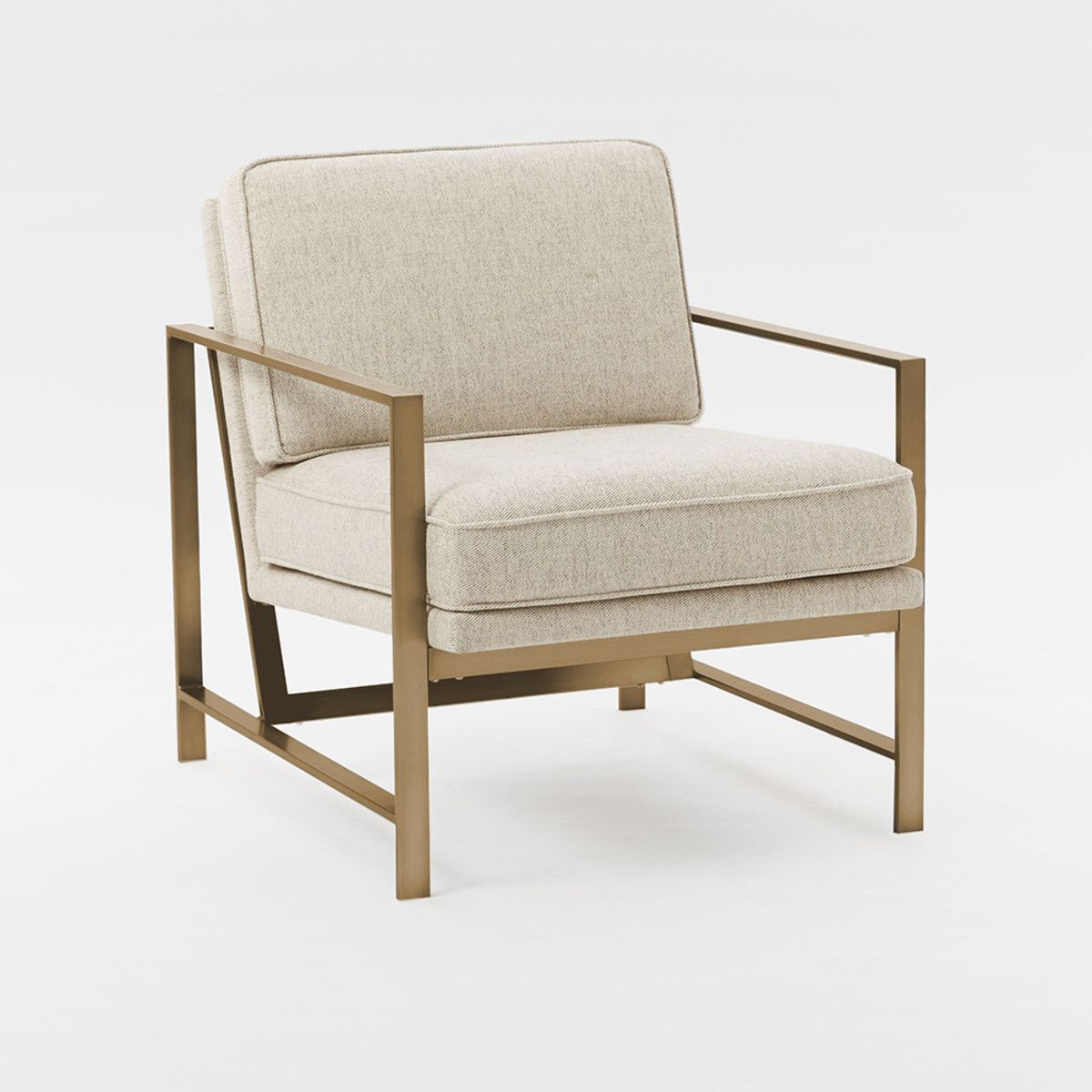 West Elm – Metal Frame Upholstered Chair – Stone For Elm Sofa Chairs (Image 18 of 20)