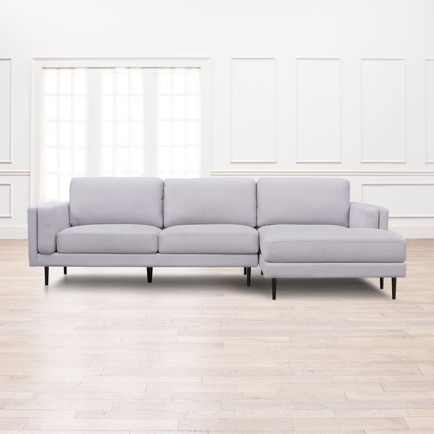 West End 2 Piece Sectional With Right Facing Chaise – Light Gray Inside Mcdade Graphite Sofa Chairs (Image 20 of 20)