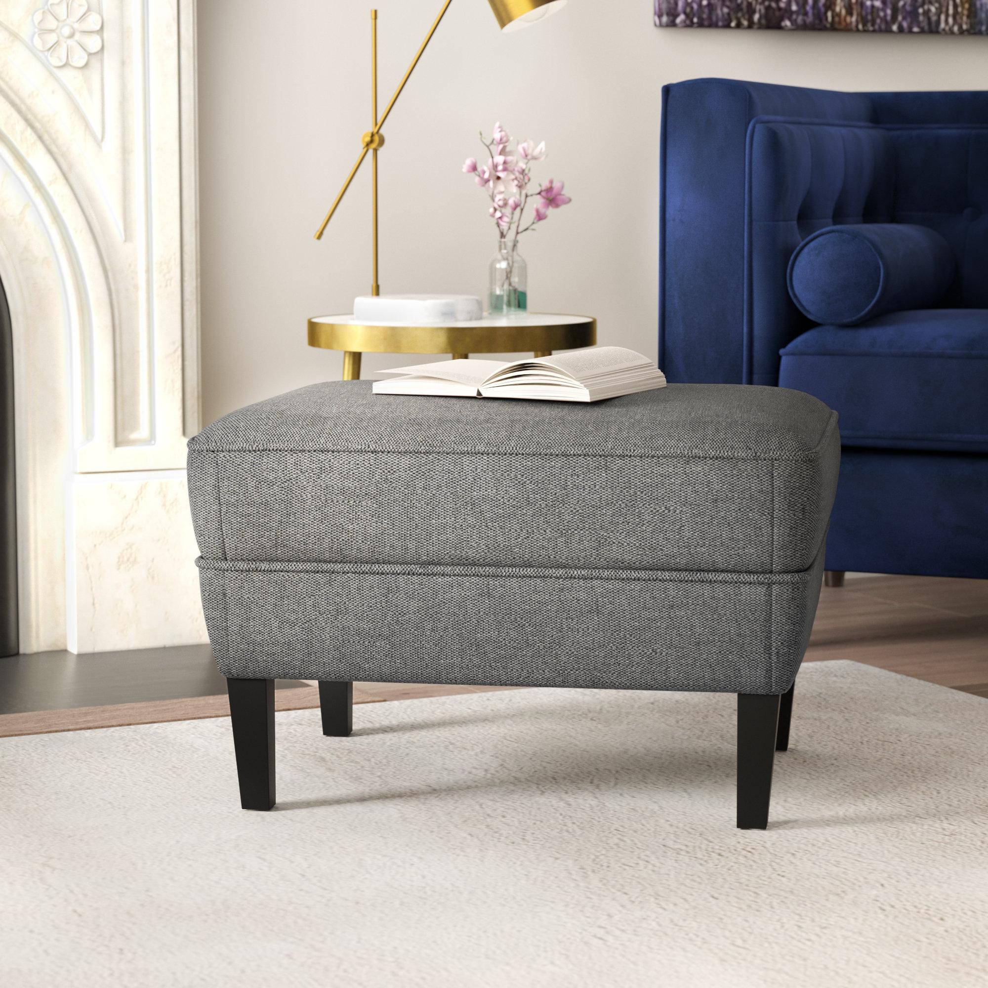 Willa Arlo Interiors Aquarius Ottoman & Reviews | Wayfair In Aquarius Dark Grey Sofa Chairs (View 8 of 20)