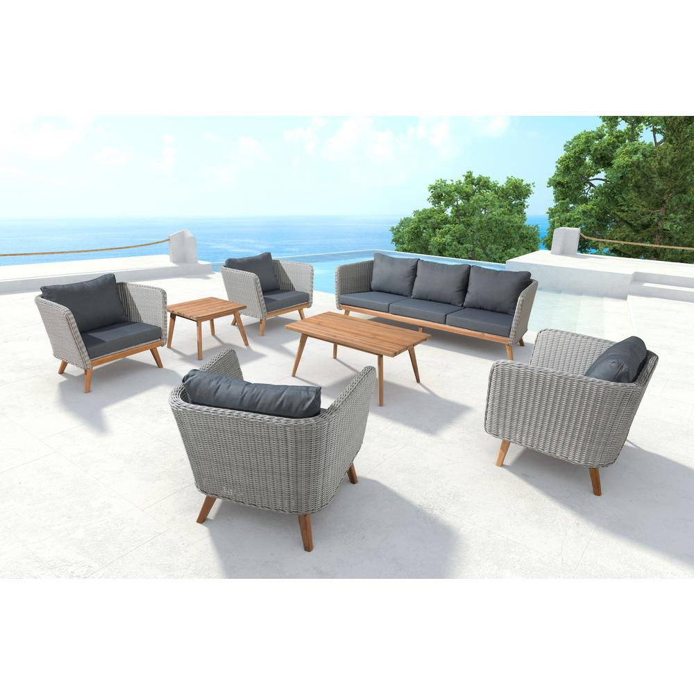 Zuo Grace Bay Patio Sofa In Natural And Gray 703749 – The Home Depot In Grace Sofa Chairs (Photo 10 of 20)