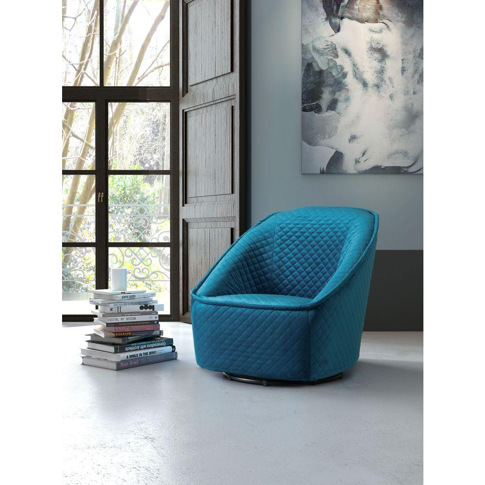 Zuo Pug Quilted Aquamarine Velvet Swivel Arm Chair 100251 – The Home Intended For Loft Black Swivel Accent Chairs (View 18 of 20)