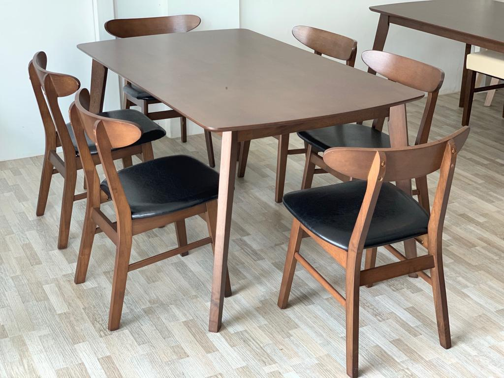[1+6] Retro Dining Room Set 03Pu For Most Up To Date Evellen 5 Piece Solid Wood Dining Sets (Set Of 5) (View 20 of 20)