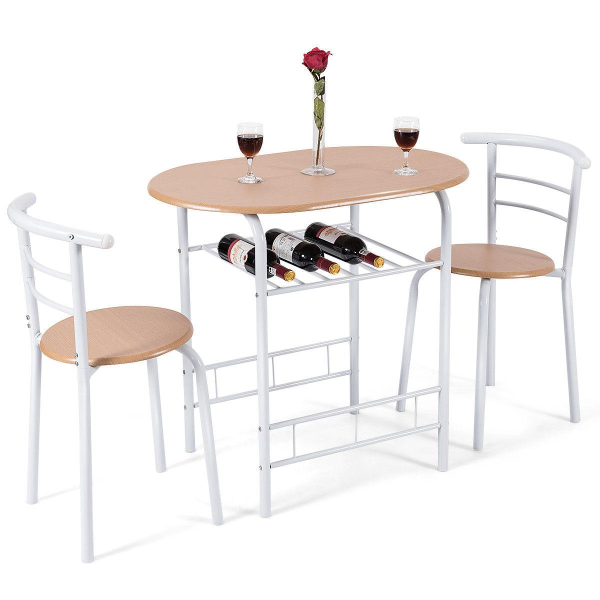 3 Piece Dining Set Table 2 Chairs Bistro With Best And Newest Ligon 3 Piece Breakfast Nook Dining Sets (Photo 18 of 20)