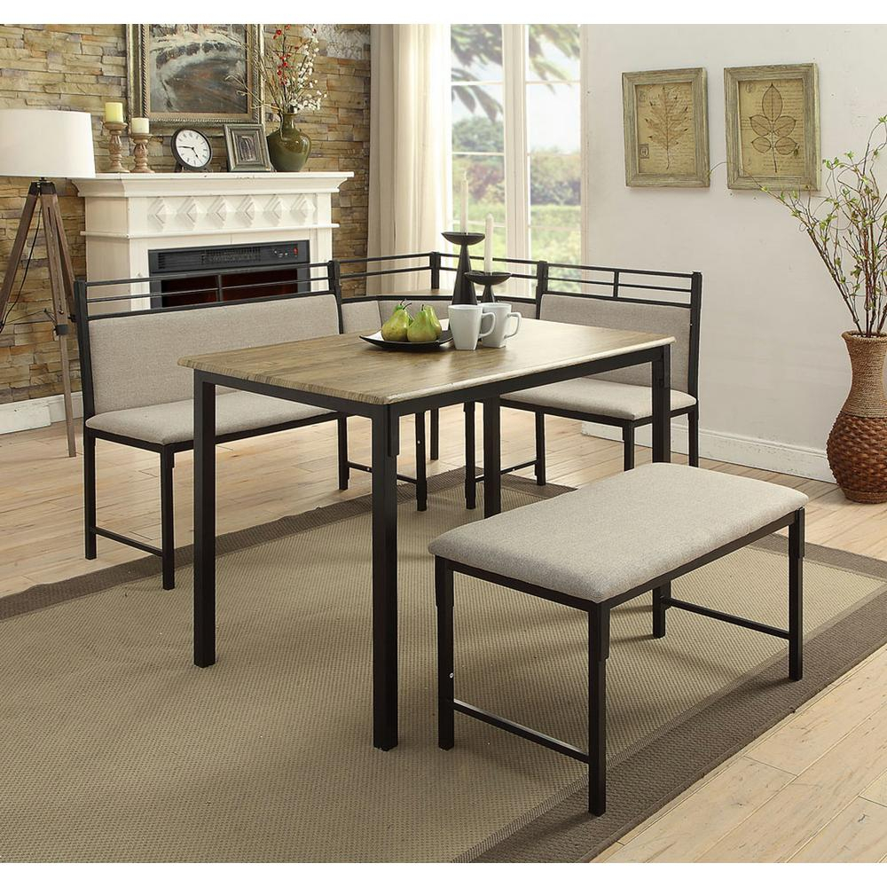 4D Concepts Boltzero 3 Piece Black And Tan Corner Dining Nook Set In Most Up To Date Bedfo 3 Piece Dining Sets (Photo 4 of 20)