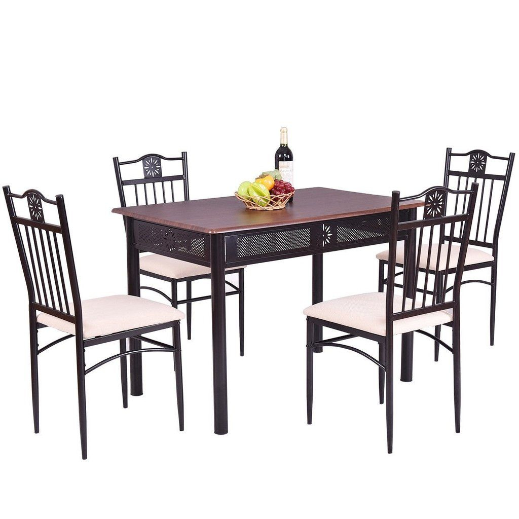 5 Pcs Dining Set Wood Metal Table And 4 Chairs With Cushions In 2019 Pertaining To Most Popular Stouferberg 5 Piece Dining Sets (Photo 6 of 20)
