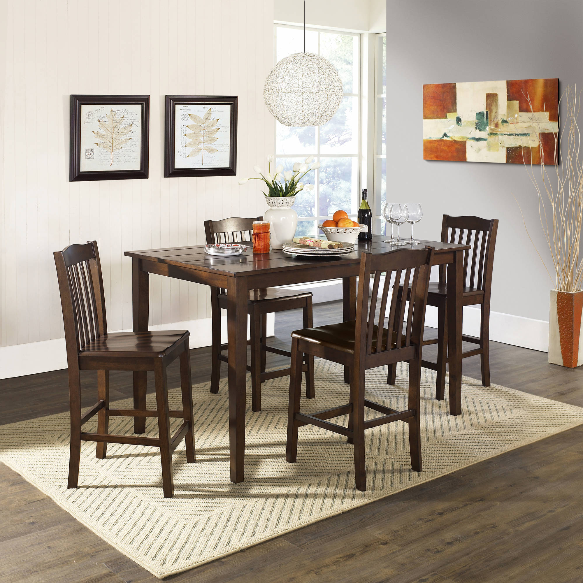 5 Piece Baxter Dining Set With Storage Ottoman, Multiple Colors With Most Popular Anette 3 Piece Counter Height Dining Sets (Photo 13 of 20)