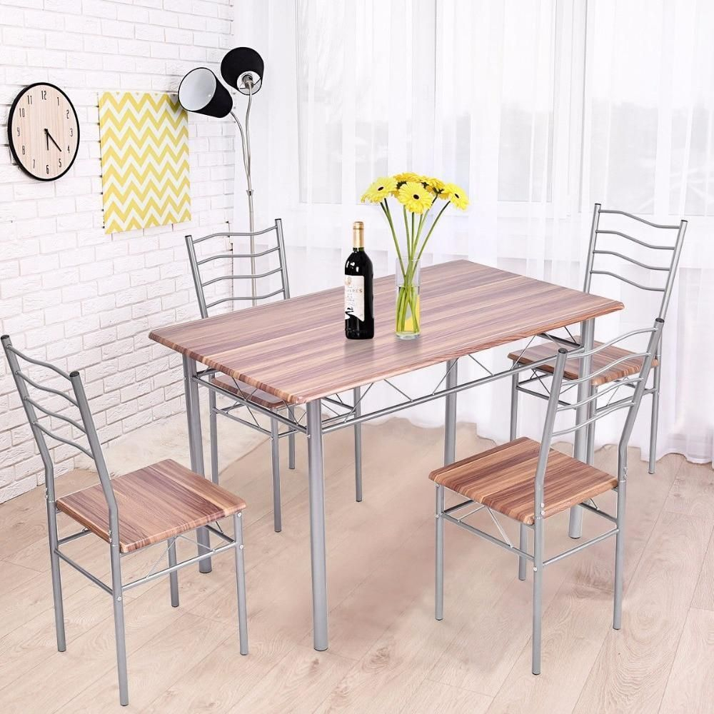 5 Piece Dining Set Wood Metal Table And 4 Chairs Kitchen Modern In 2018 Tarleton 5 Piece Dining Sets (View 7 of 20)