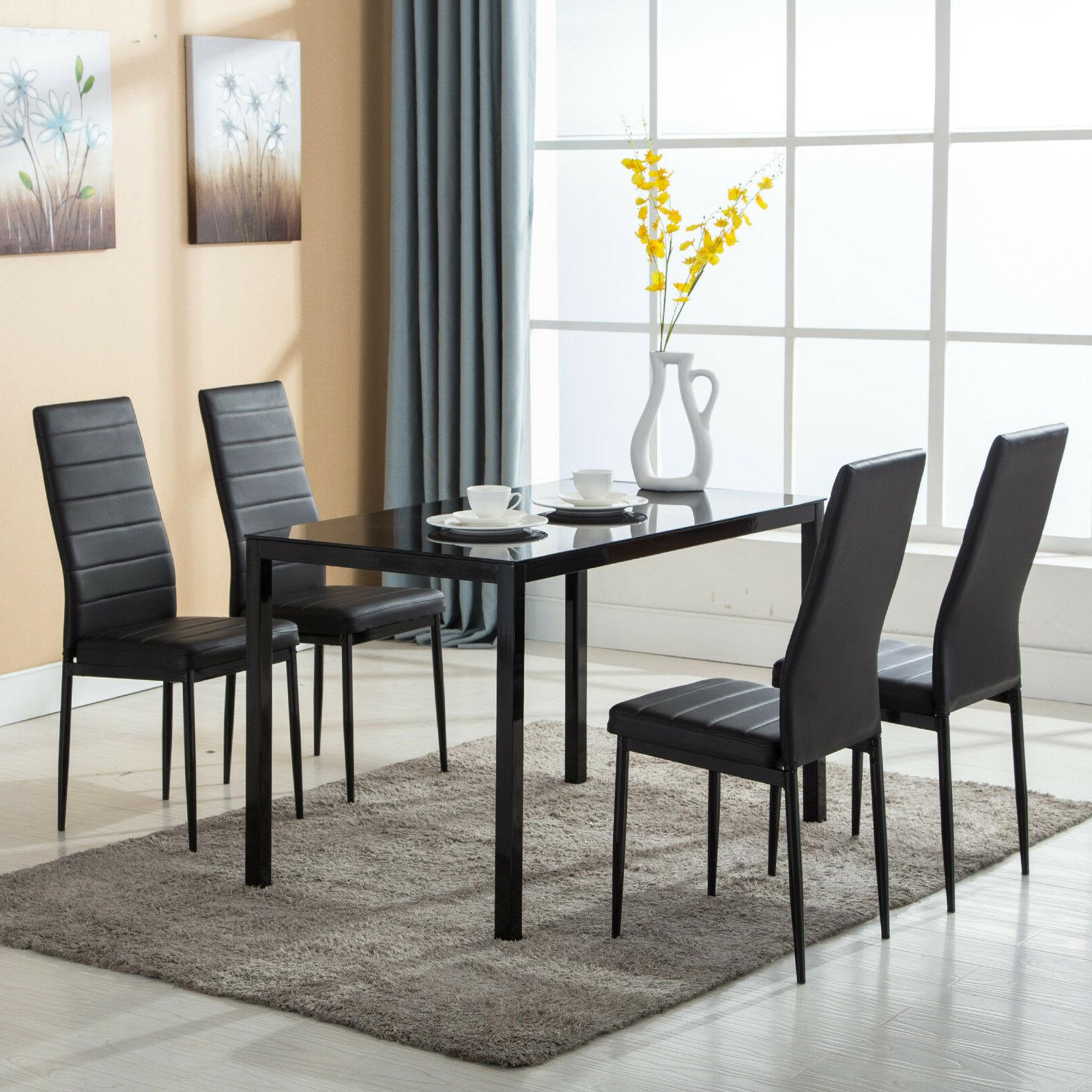 5 Piece Dining Table Set 4 Chairs Glass Intended For Newest Ligon 3 Piece Breakfast Nook Dining Sets (Image 3 of 20)