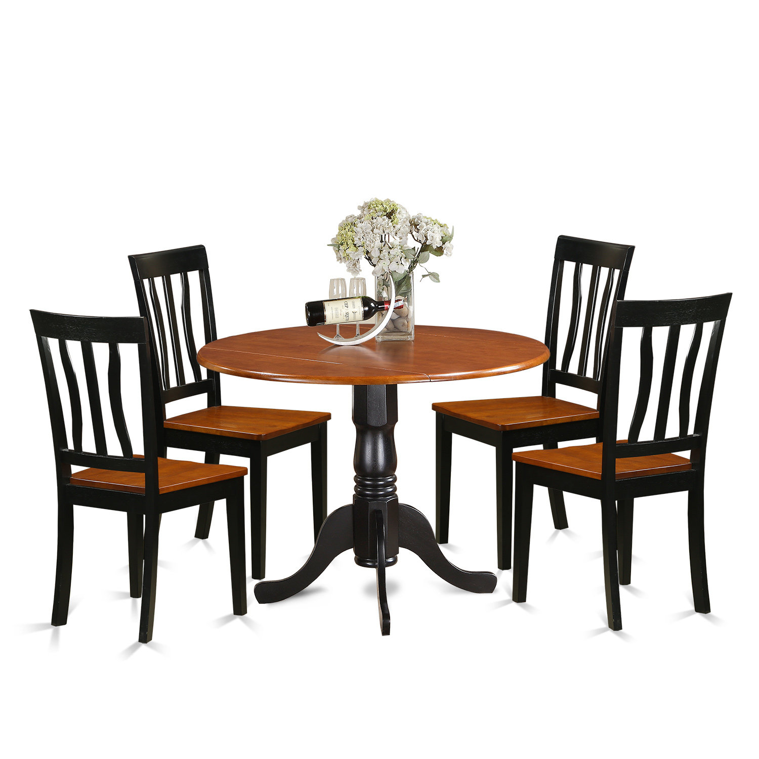 5 Piece Drop Leaf Solid Wood Dining Set In Most Up To Date Laconia 7 Pieces Solid Wood Dining Sets (Set Of 7) (Photo 20 of 20)