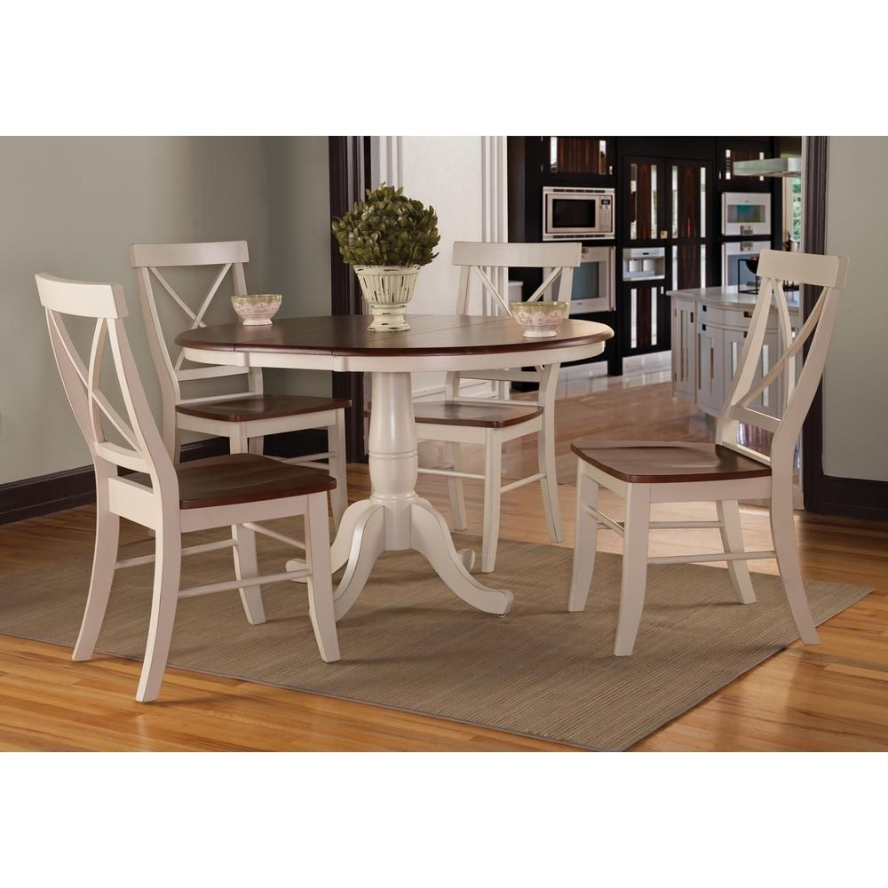 5 Piece Espresso And Distressed Almond Dining Set | Products | Round With Regard To Most Recently Released Goodman 5 Piece Solid Wood Dining Sets (Set Of 5) (Image 1 of 20)