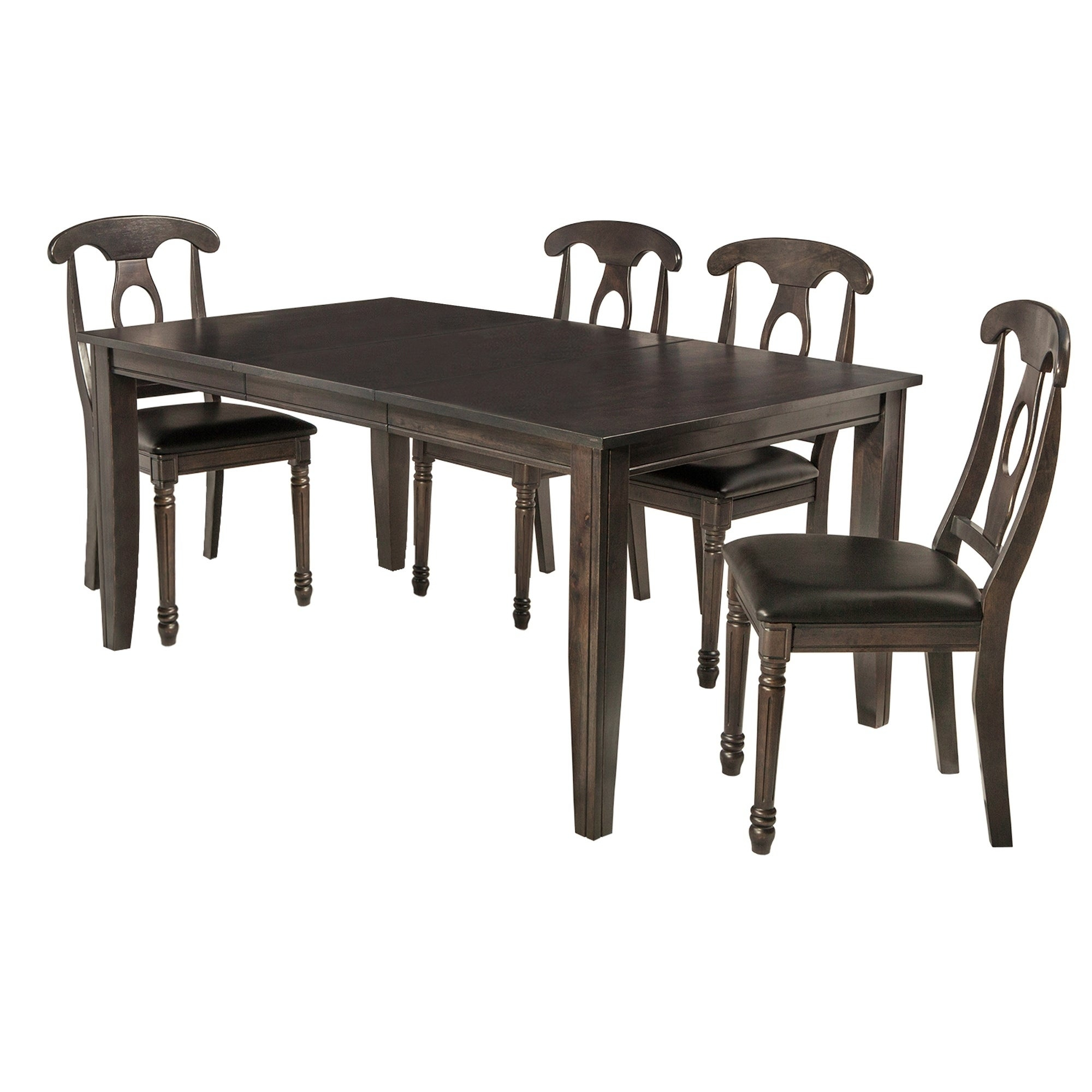 "5 Piece Solid Wood Dining Set ""aden"", Modern Kitchen Table Set, Dark Gray Inside Most Recently Released Adan 5 Piece Solid Wood Dining Sets (Set Of 5) (Image 1 of 20)"