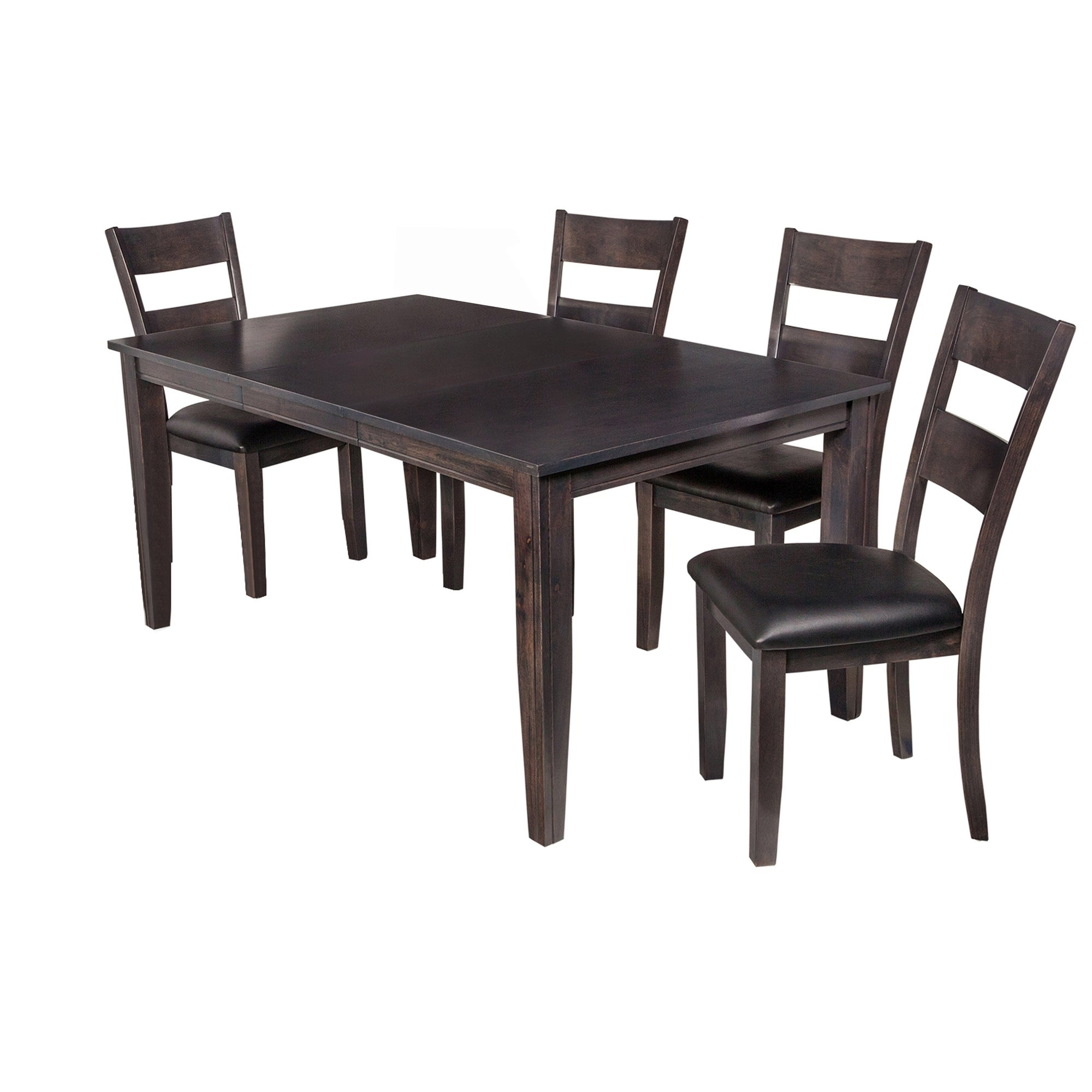 "5 Piece Solid Wood Dining Set ""aden"", Modern Kitchen Table Set, Dark Gray Pertaining To 2018 Adan 5 Piece Solid Wood Dining Sets (Set Of 5) (Image 2 of 20)"