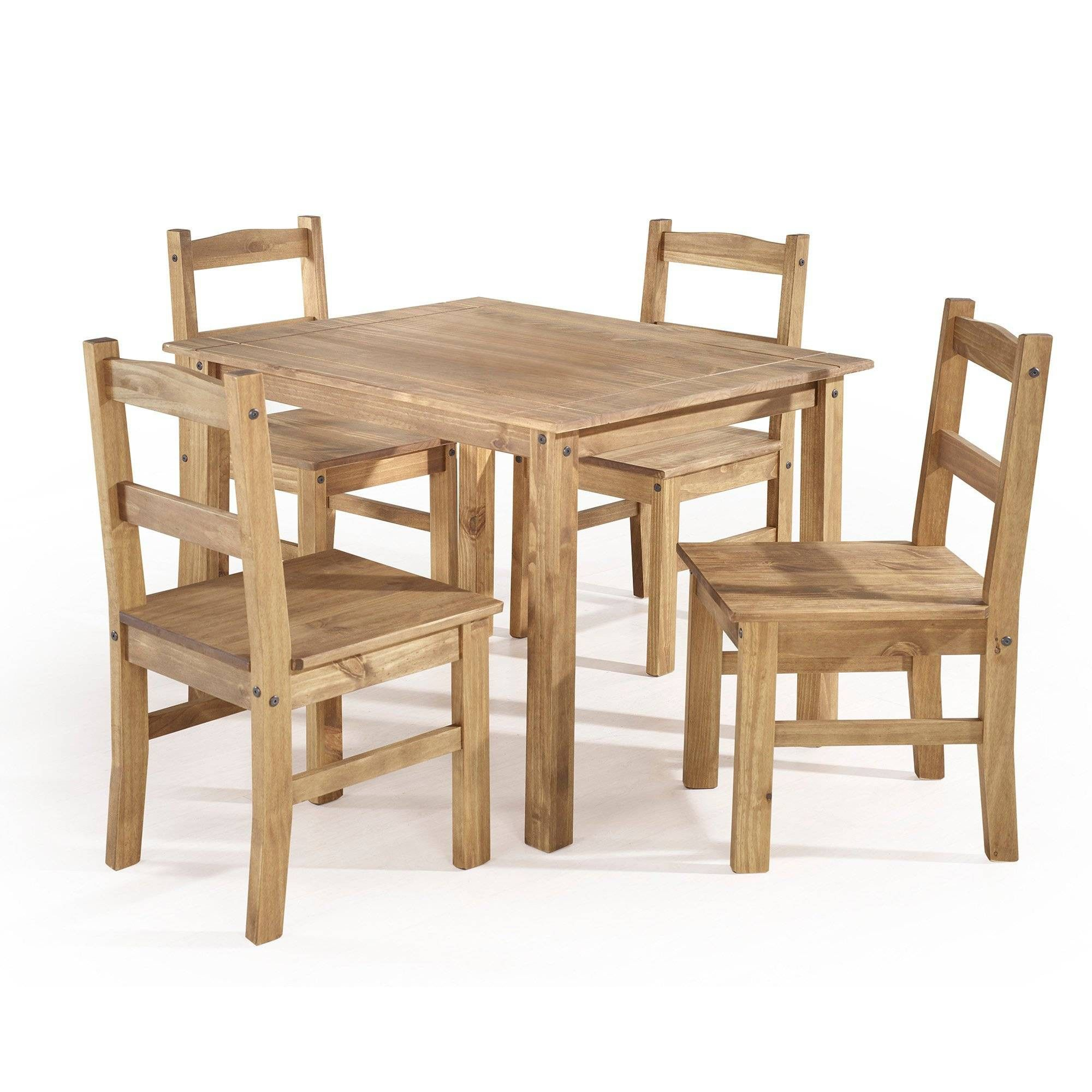 5Pc York Solid Wood Dining Set Natural – Manhattan Comfort In 2019 Inside Best And Newest Wiggs 5 Piece Dining Sets (View 9 of 20)