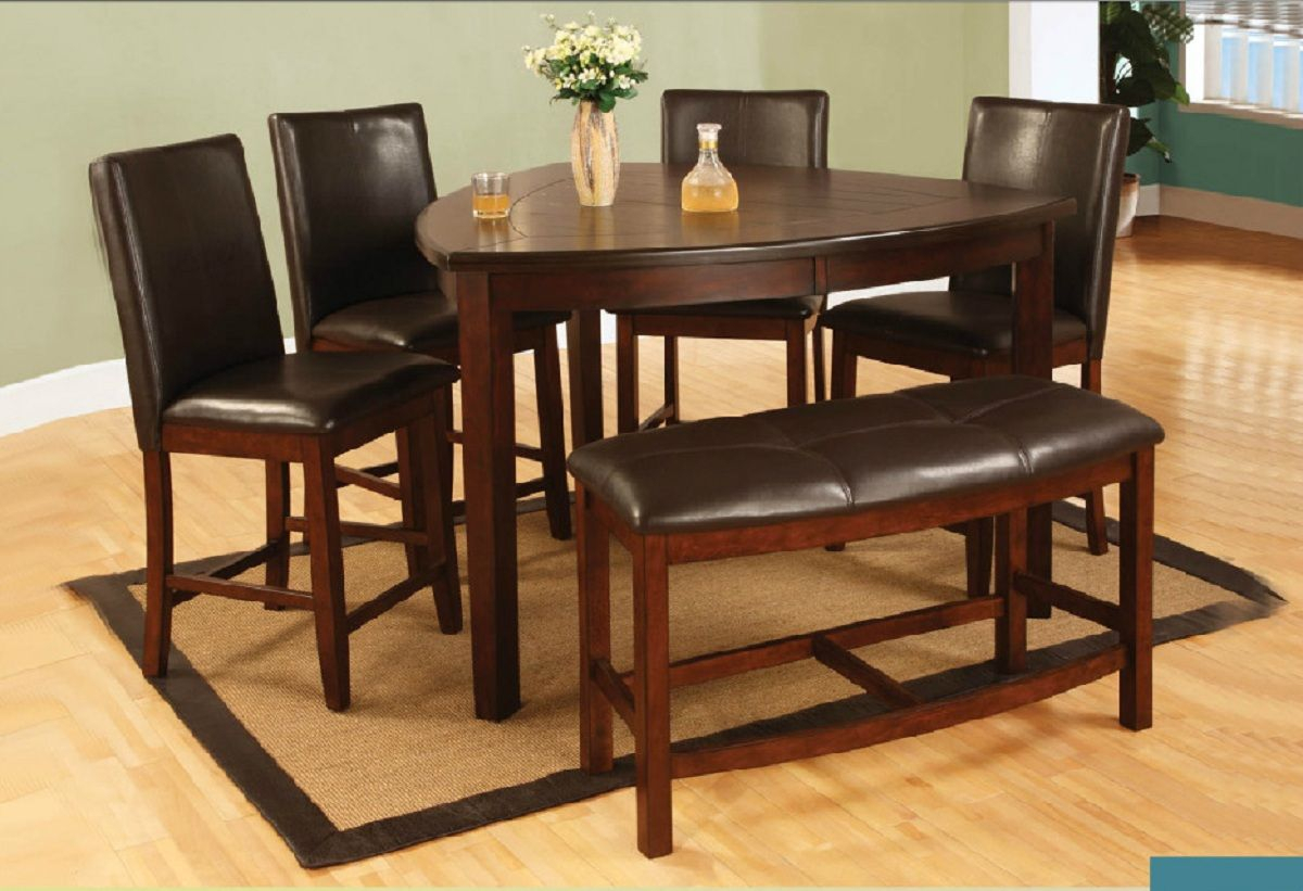 6 Pieces Triangle Counter Height Dining Set With Bench | Dining Room Pertaining To Most Popular Castellanos Modern 5 Piece Counter Height Dining Sets (Image 3 of 20)
