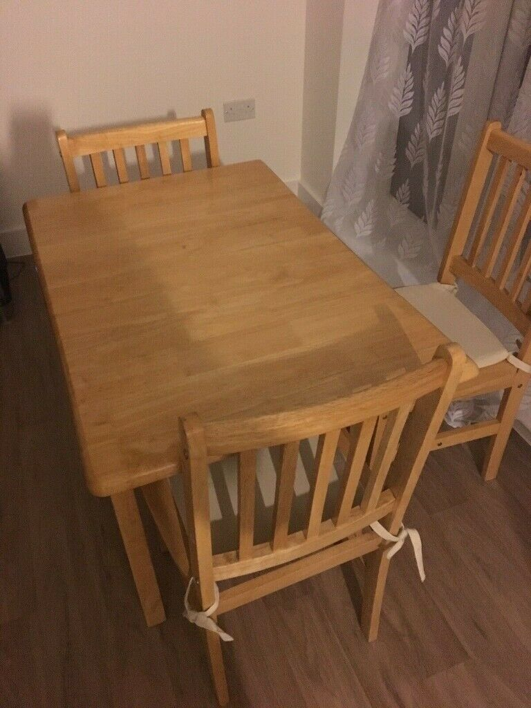 A Solid Pine 4 Seater Dining Table With 3 Matching Chairs In Good Used Condition Free Local Delivery | In Luton, Bedfordshire | Gumtree Intended For Best And Newest Bedfo 3 Piece Dining Sets (View 20 of 20)
