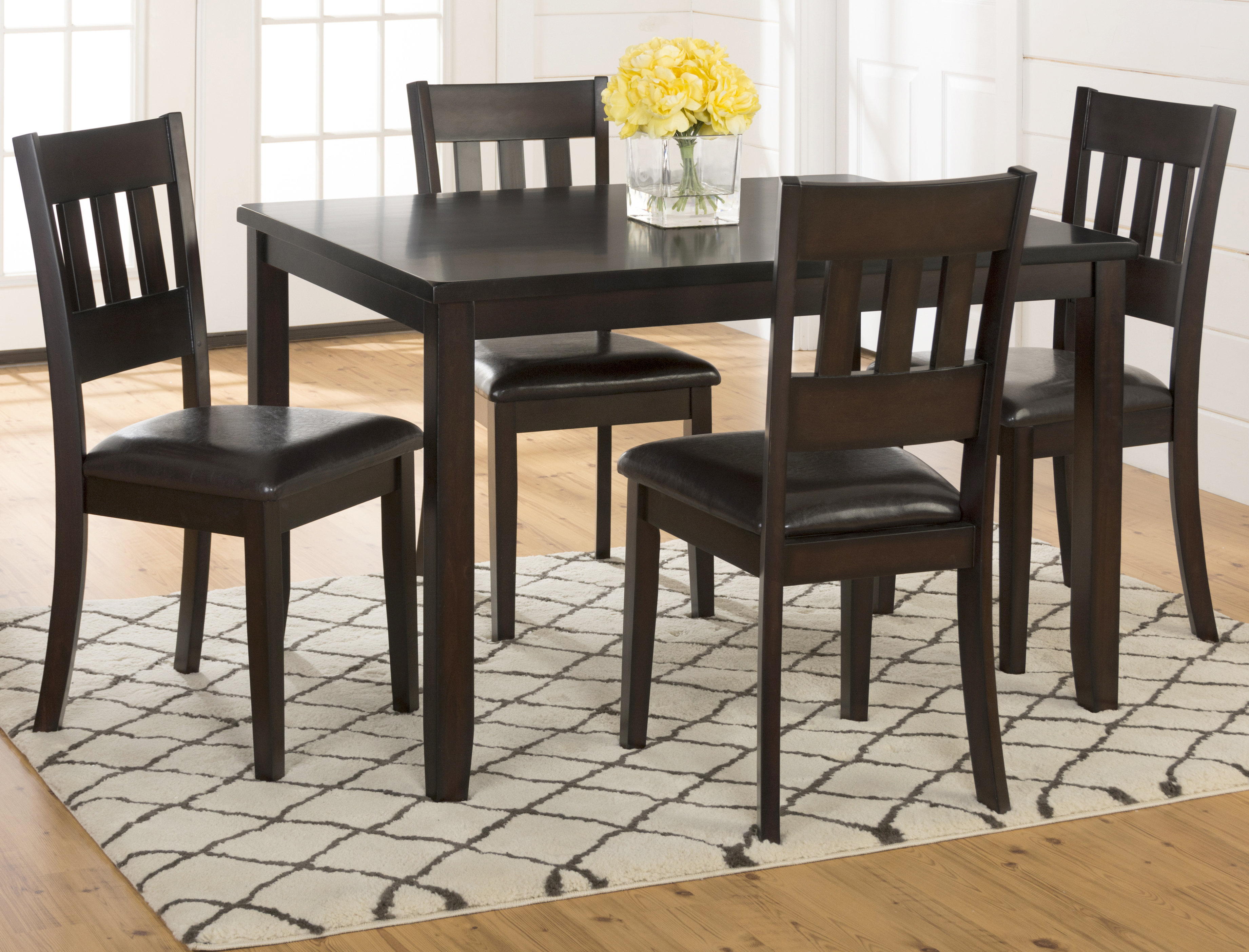 Adan 5 Piece Solid Wood Dining Set With Best And Newest Adan 5 Piece Solid Wood Dining Sets (Set Of 5) (View 2 of 20)