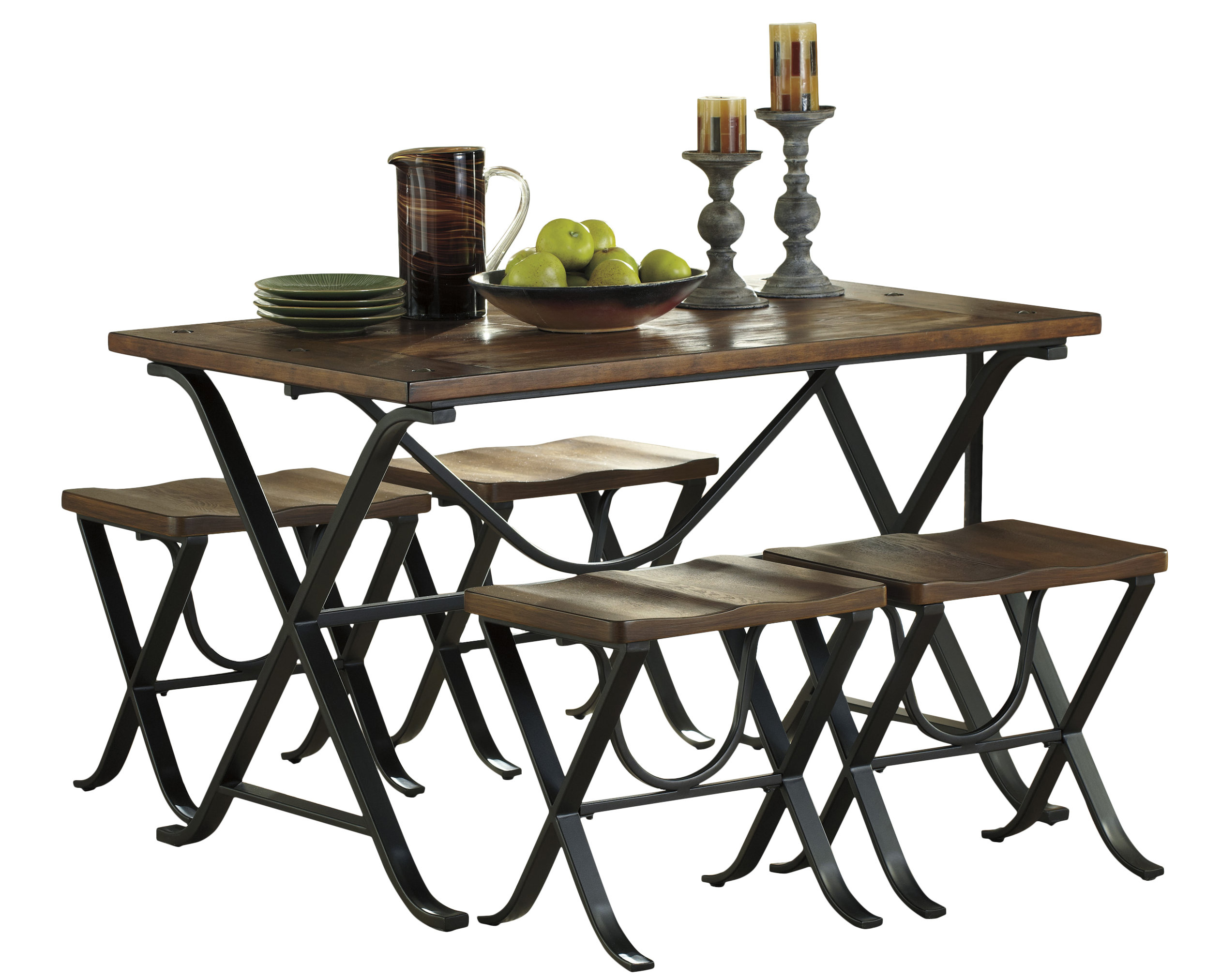 Aguiar 5 Piece Dining Set With Most Up To Date Denzel 5 Piece Counter Height Breakfast Nook Dining Sets (Image 2 of 20)