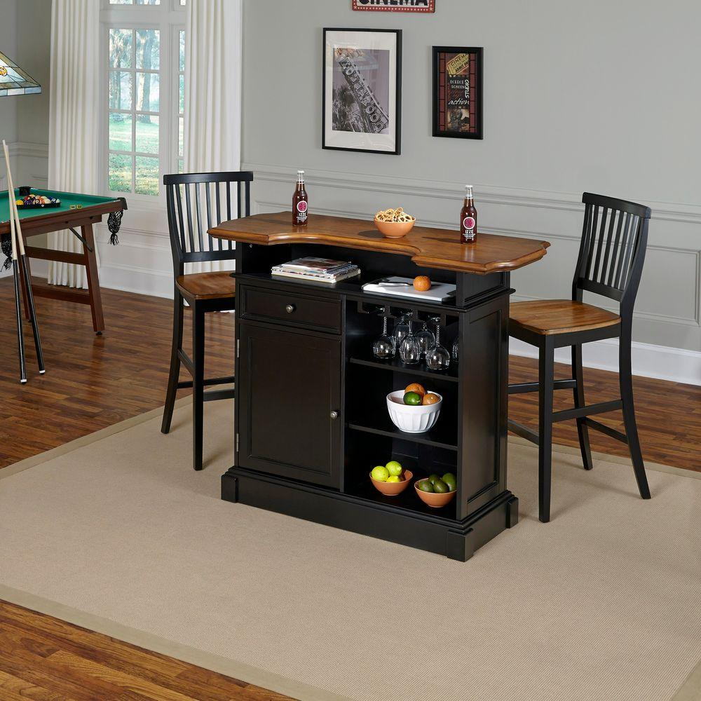 Americana 3 Piece Black And Oak Bar Table Set Pertaining To Recent Partin 3 Piece Dining Sets (Image 2 of 20)