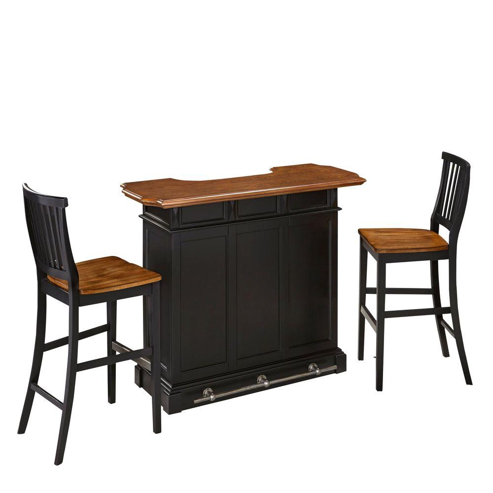 Americana 3 Piece Black And Oak Bar Table Set Within 2018 Partin 3 Piece Dining Sets (Image 3 of 20)
