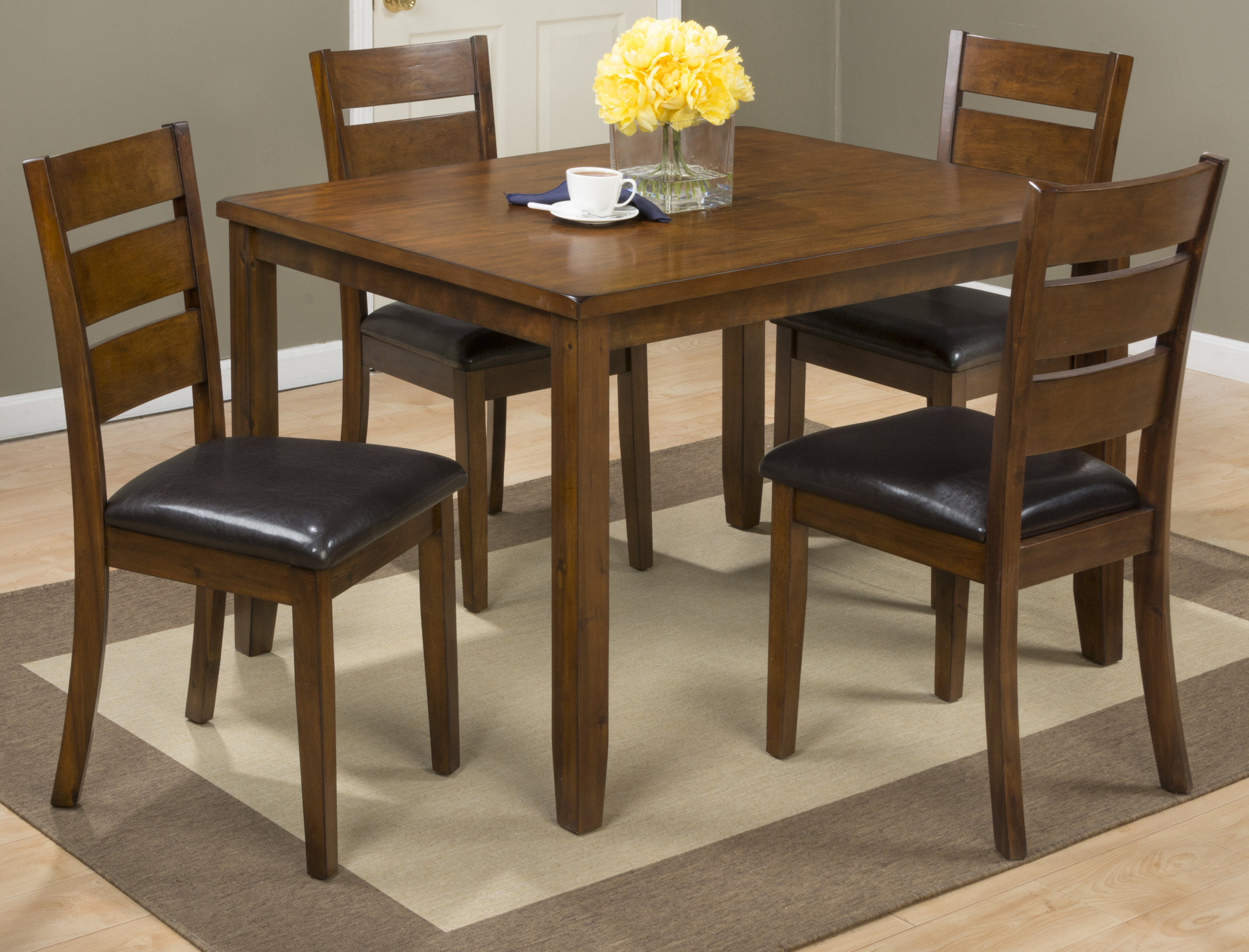Amir 5 Piece Solid Wood Dining Set Regarding Most Popular Hanska Wooden 5 Piece Counter Height Dining Table Sets (Set Of 5) (Image 2 of 20)