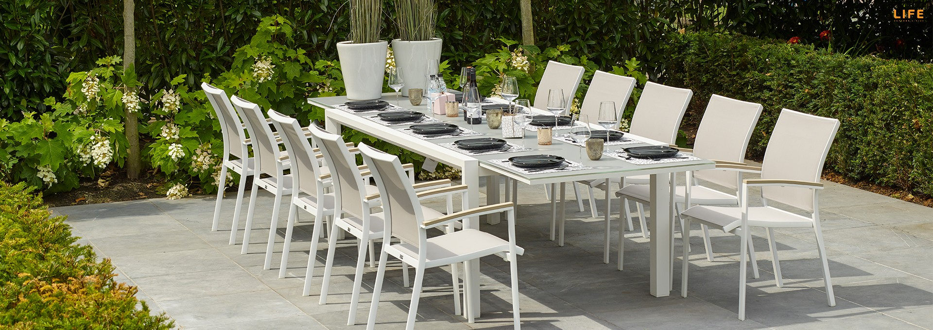 Anabel Dining Extendable White – Life Outdoor Living In Most Recently Released Osterman 6 Piece Extendable Dining Sets (Set Of 6) (View 11 of 20)