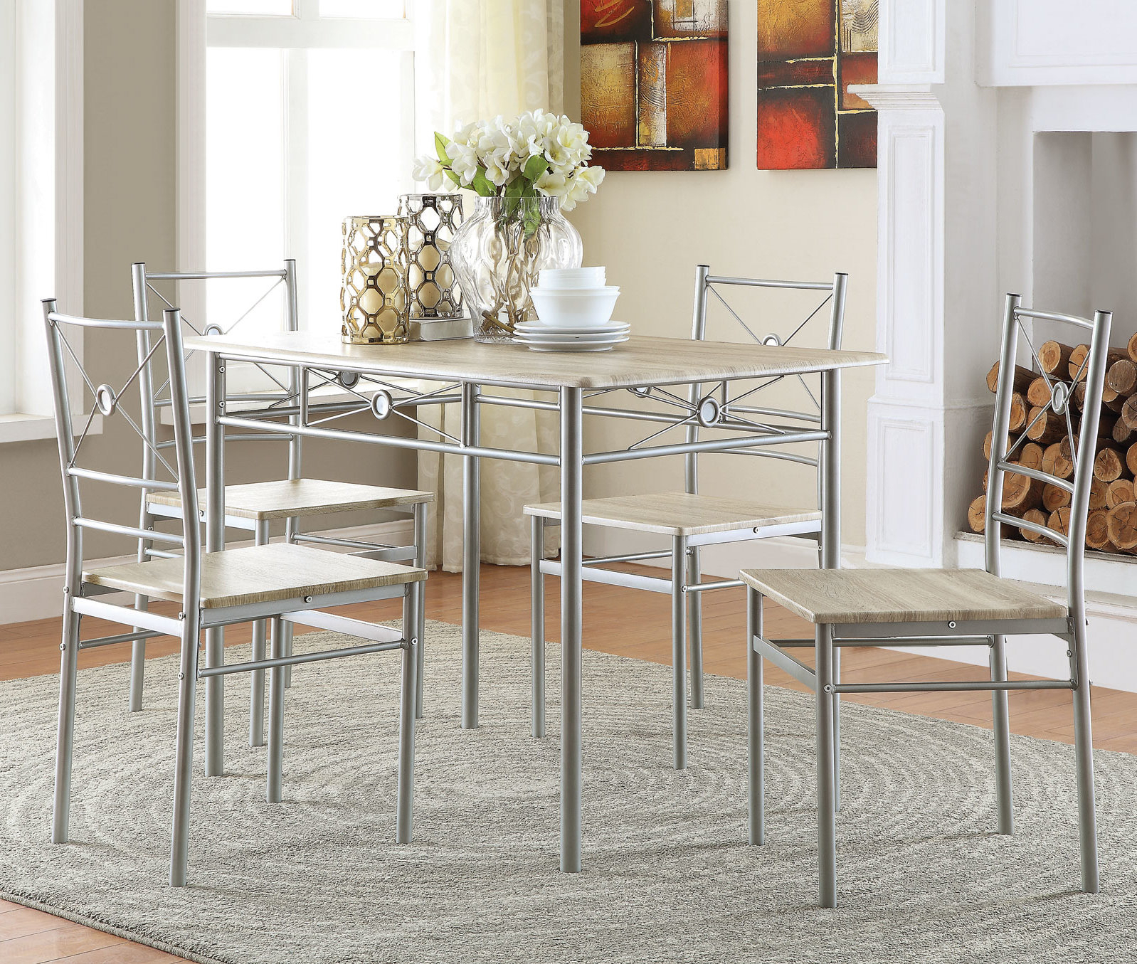 Andover Mills Kieffer 5 Piece Dining Set & Reviews | Wayfair.ca Intended For Latest Ganya 5 Piece Dining Sets (Photo 12 of 20)
