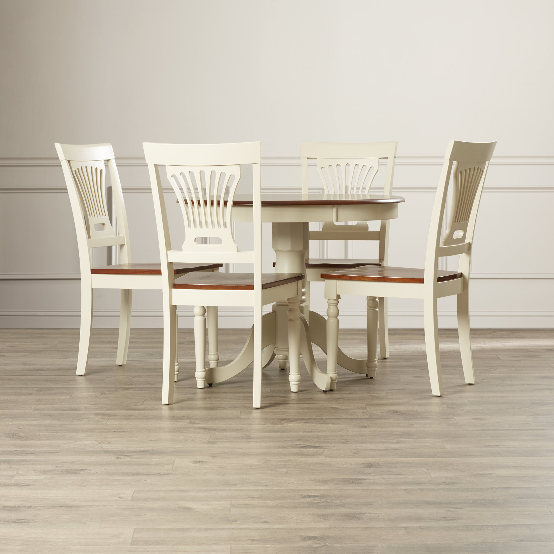 Andover Mills Philippa 5 Piece Solid Wood Dining Set With Newest Weatherholt Dining Tables (Image 1 of 20)