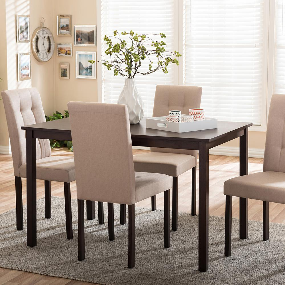 Andrew 9 Grids 5 Piece Gray Fabric Upholstered Dining Set With Most Popular Bedfo 3 Piece Dining Sets (View 17 of 20)