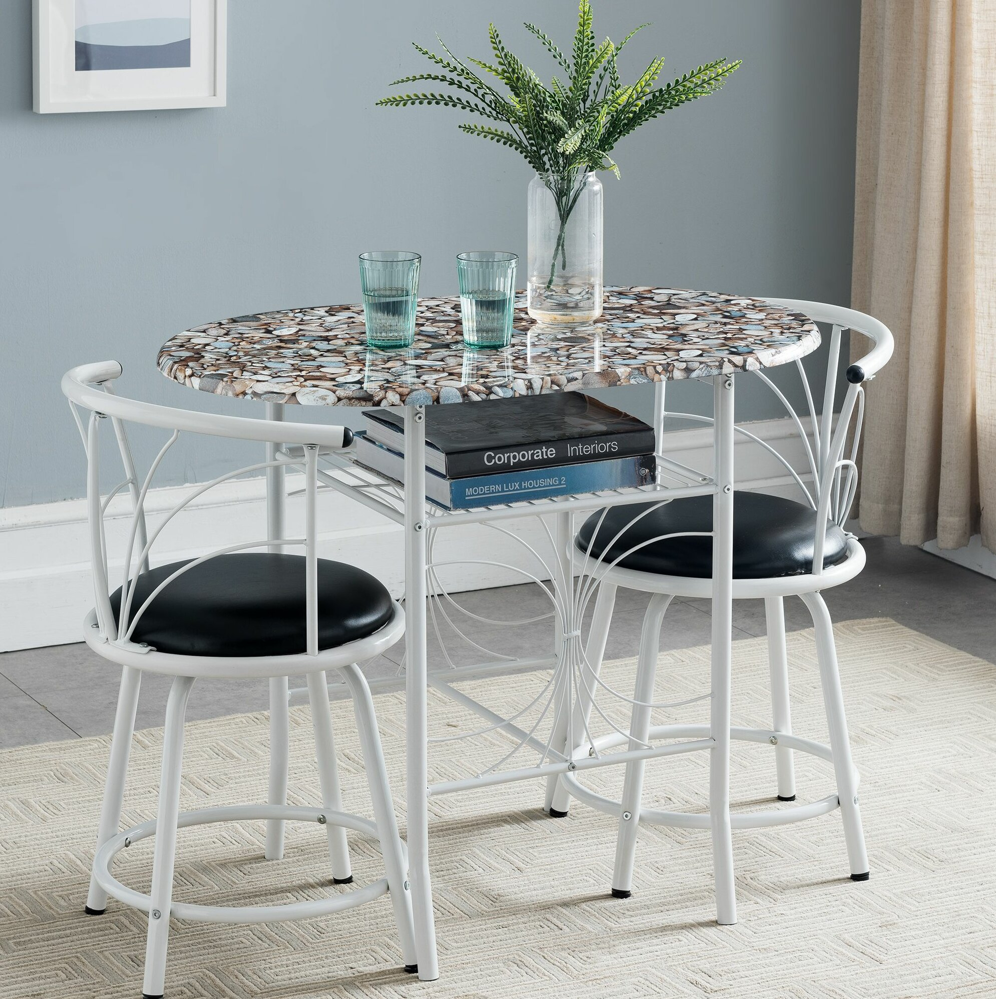 Annan 3 Piece Pub Table Set With Most Current Mizpah 3 Piece Counter Height Dining Sets (Image 4 of 20)