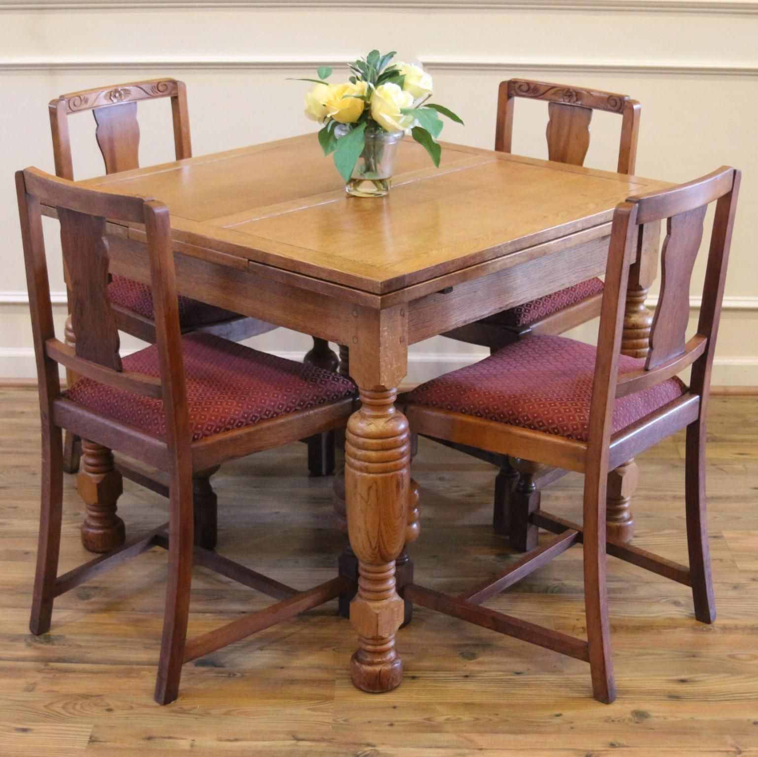 Antique English Oak Pub Table And 4 Chairs Dining Set (Image 2 of 20)