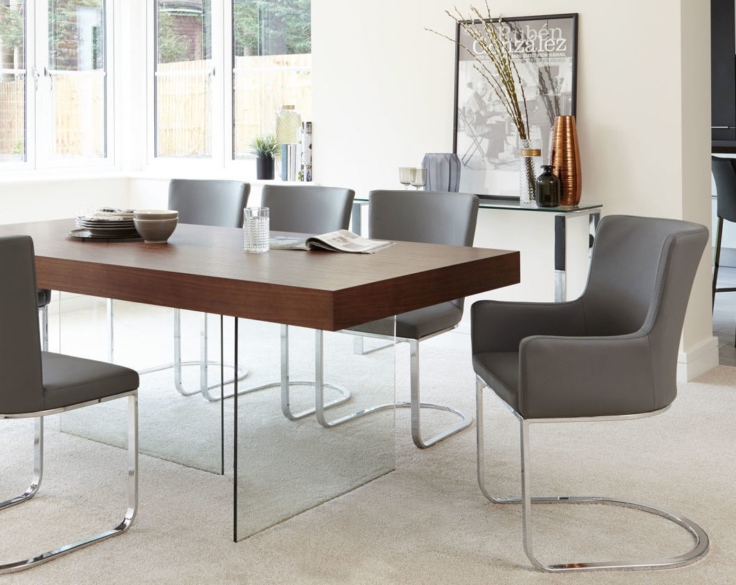 Aria Espresso Dark Wood And Glass Dining Table | Danetti Pertaining To Most Up To Date Aria 5 Piece Dining Sets (View 11 of 20)