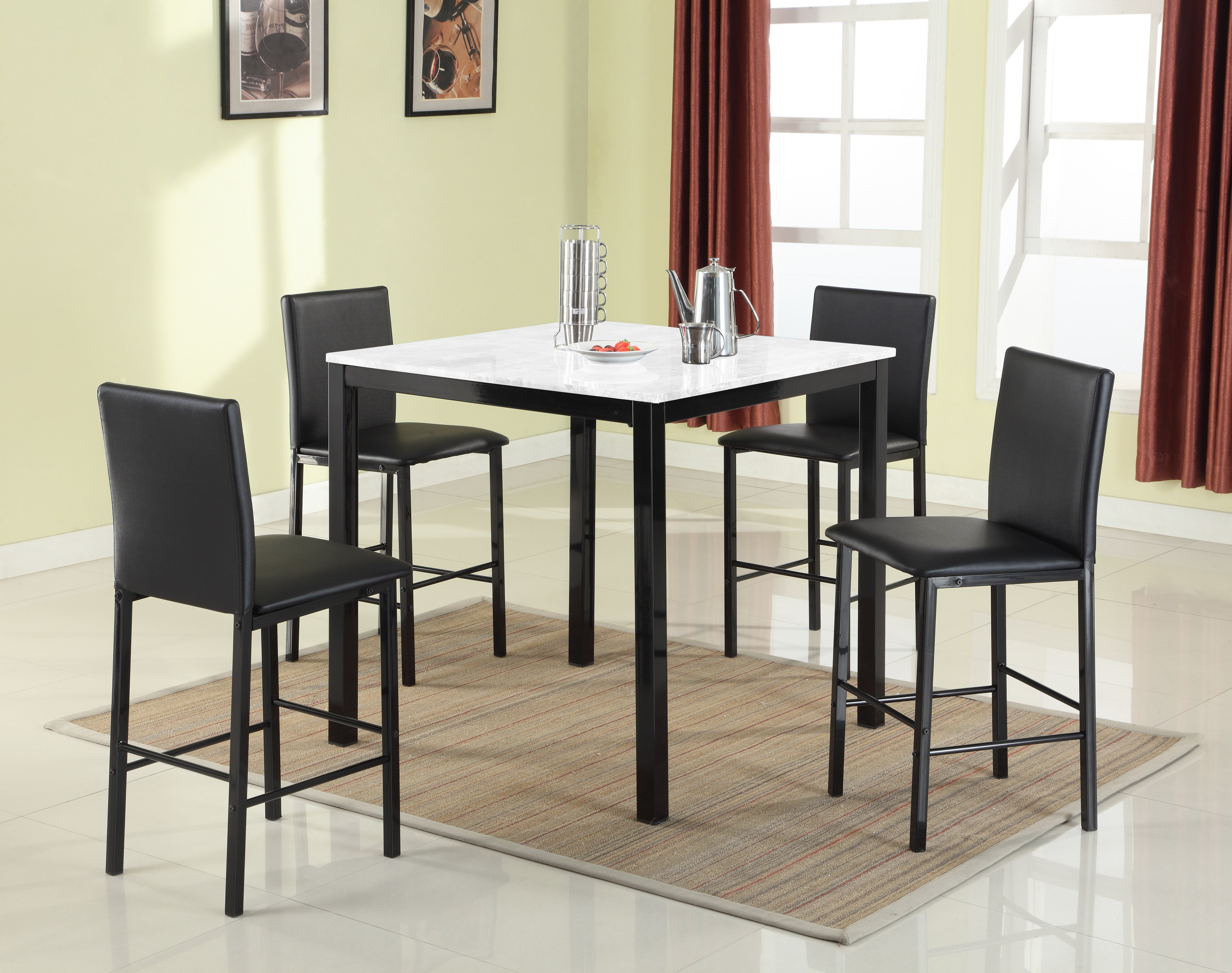 Ariandne Faux Marble 5 Piece Counter Height Dining Set In Most Up To Date Noyes 5 Piece Dining Sets (View 20 of 20)