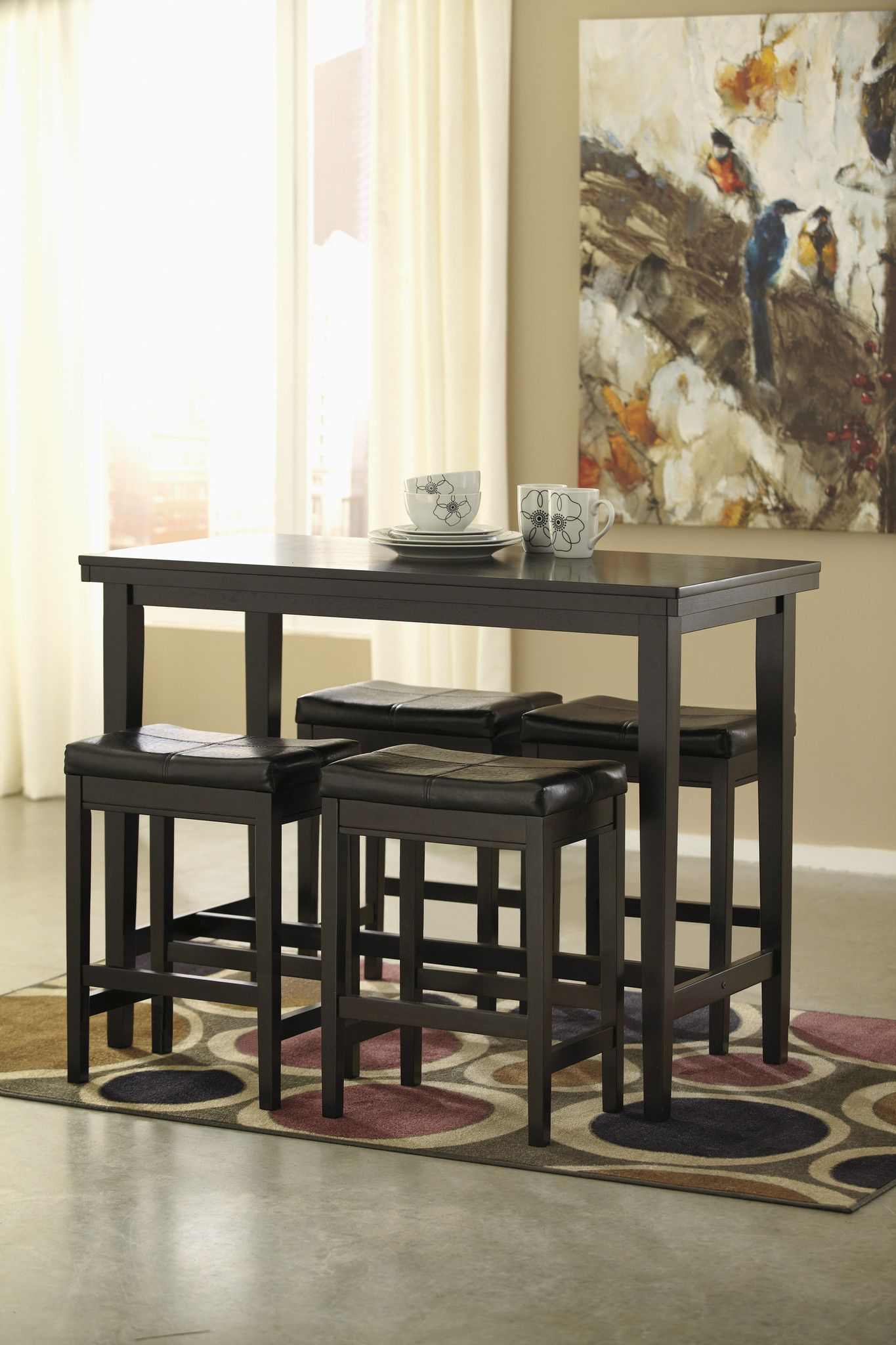 Ashley Furniture Kimonte 5 Piece Black Counter Dining Set | Jacks Throughout Current Hood Canal 3 Piece Dining Sets (Image 2 of 20)