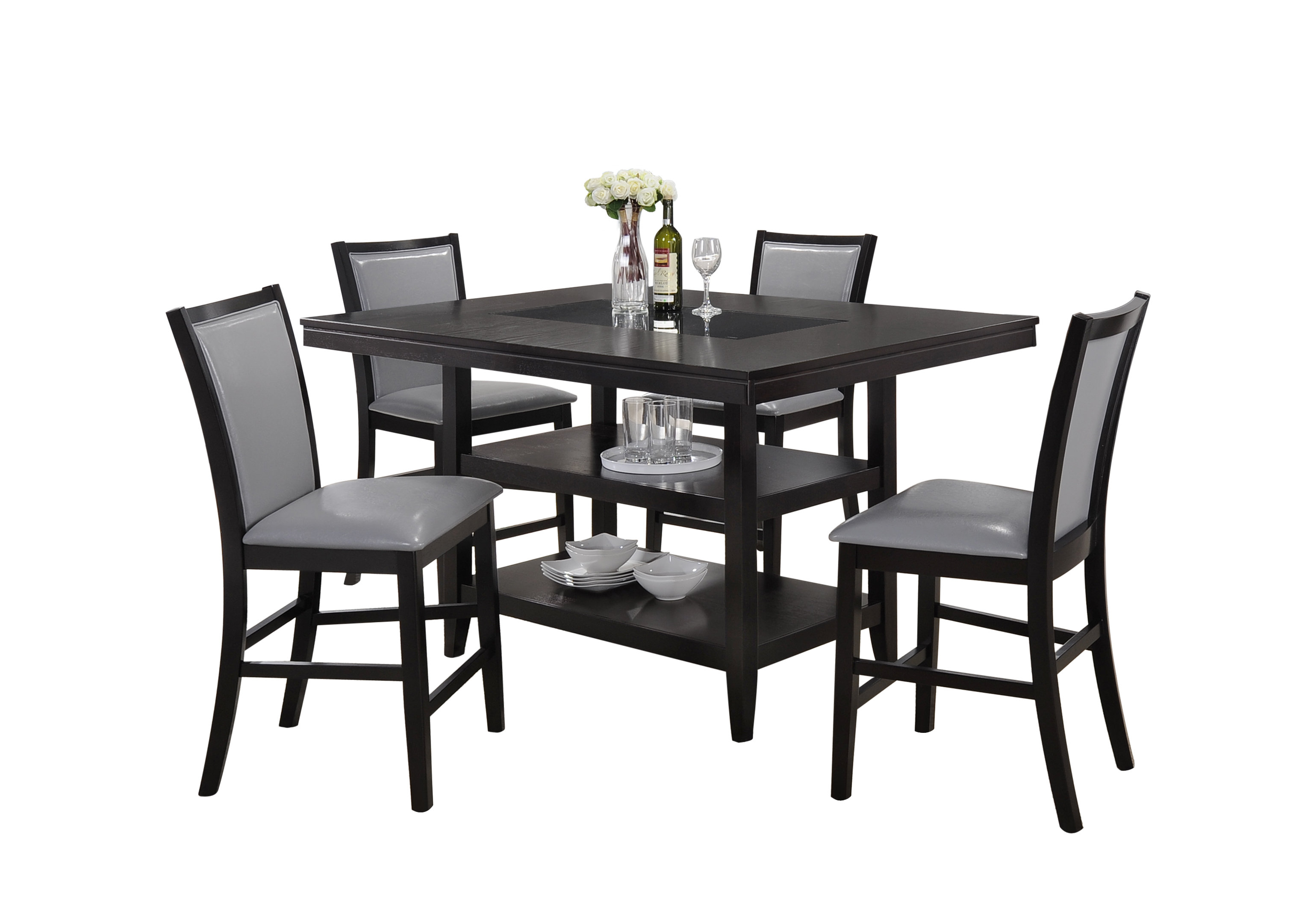 Ashton 5 Piece Dining Set With Best And Newest Goodman 5 Piece Solid Wood Dining Sets (Set Of 5) (Image 2 of 20)