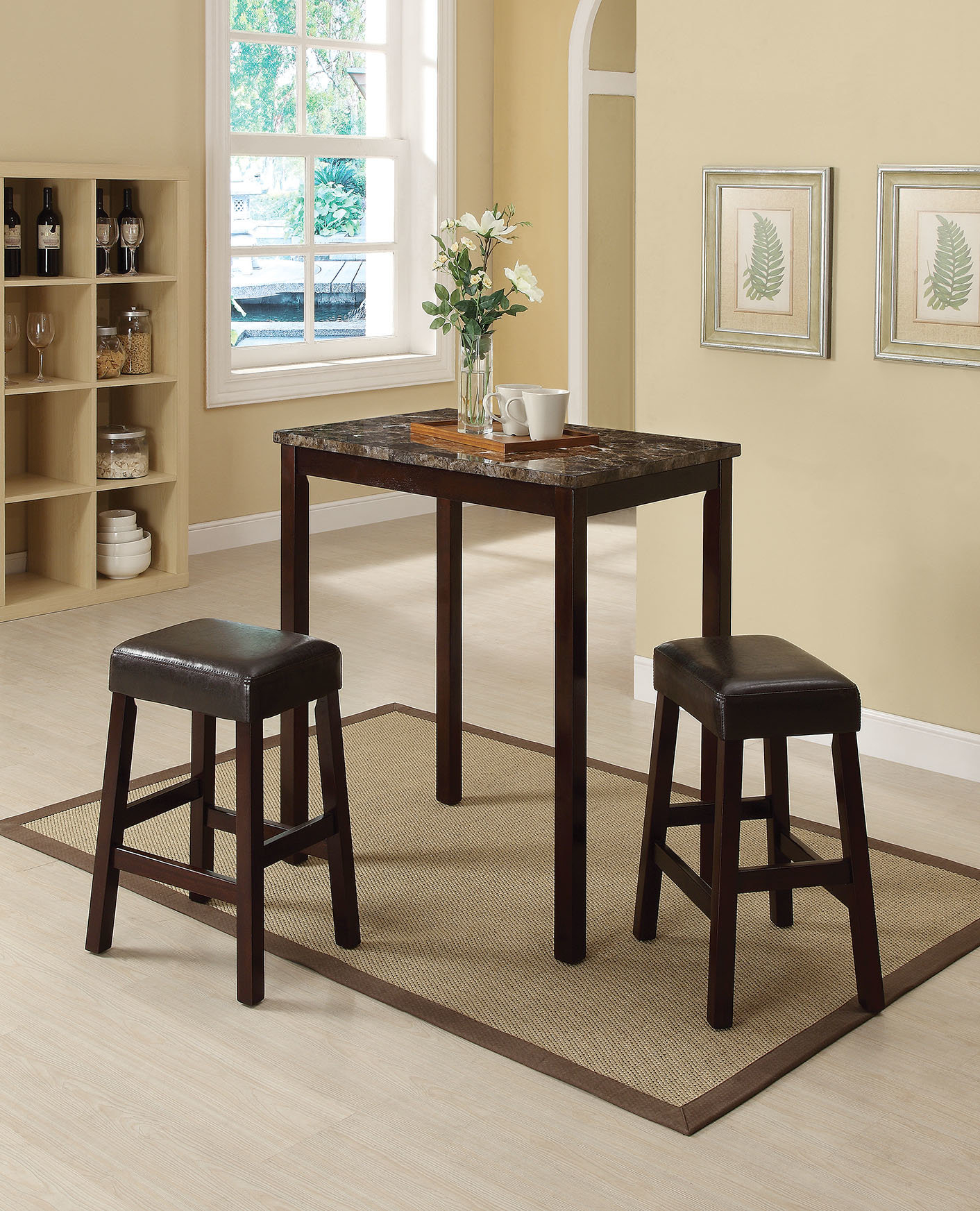 Askern 3 Piece Counter Height Dining Set For Latest Penelope 3 Piece Counter Height Wood Dining Sets (View 3 of 20)