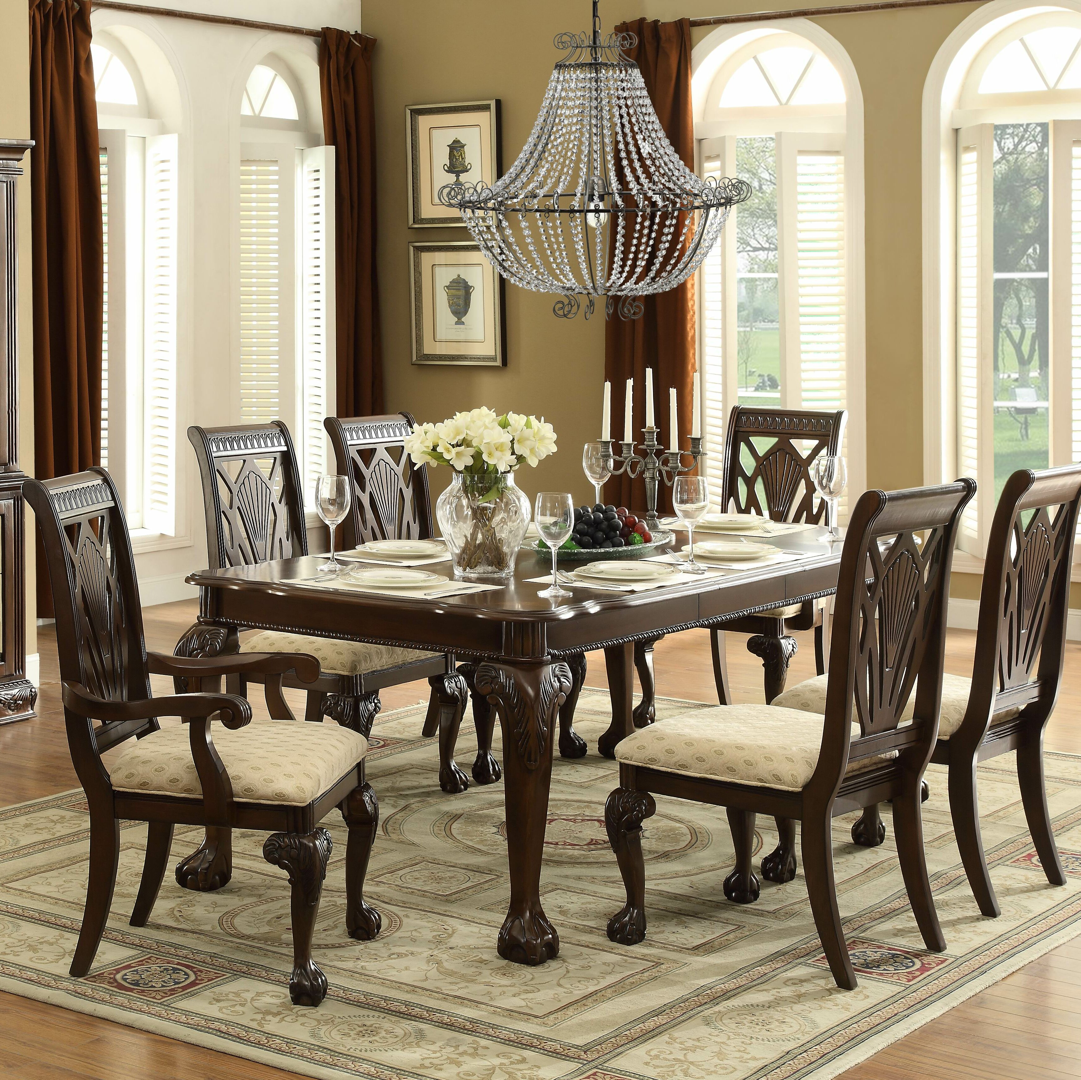 Astoria Grand Christman 7 Piece Extendable Solid Wood Dining Set For Most Recent Laconia 7 Pieces Solid Wood Dining Sets (Set Of 7) (View 4 of 20)