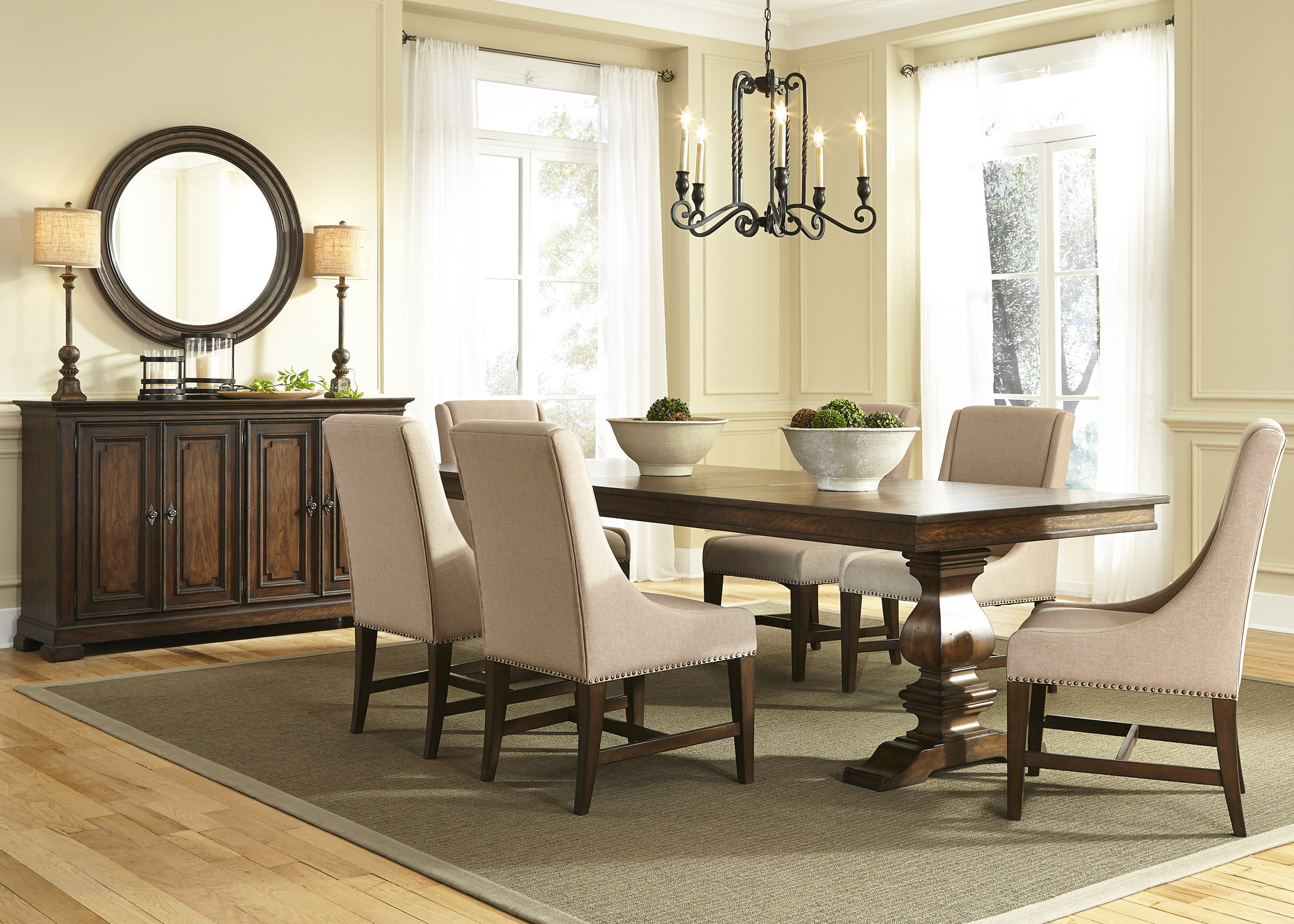 Barlow 7 Piece Solid Wood Dining Set For Most Recently Released Queener 5 Piece Dining Sets (View 11 of 20)