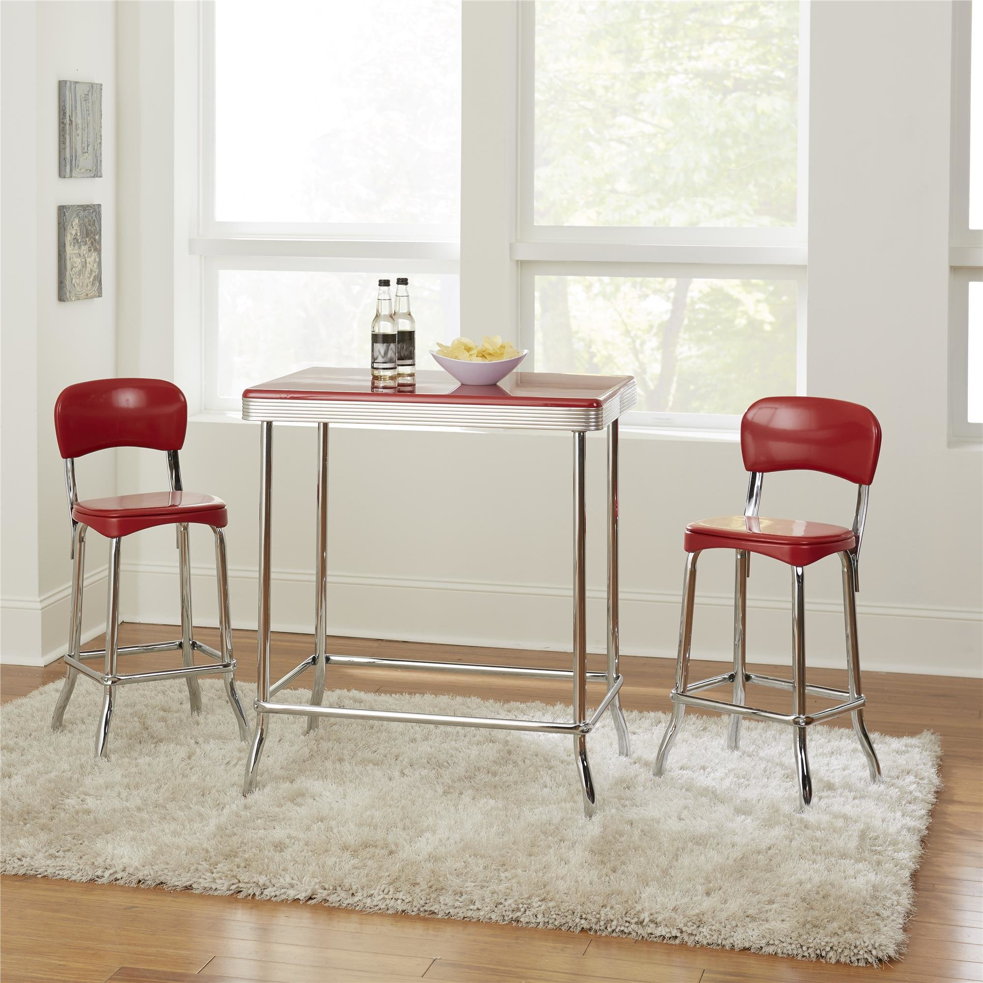 Bate Red Retro 3 Piece Dining Set Inside Latest Mizpah 3 Piece Counter Height Dining Sets (Image 5 of 20)