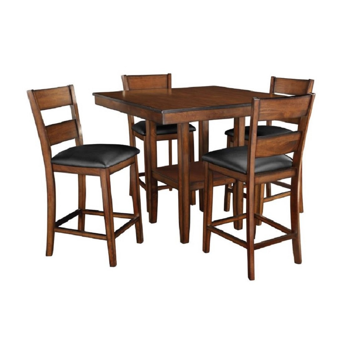 Bauman Pendwood 5 Piece Counter Height Dining Set Within Newest Amir 5 Piece Solid Wood Dining Sets (Set Of 5) (Image 4 of 20)