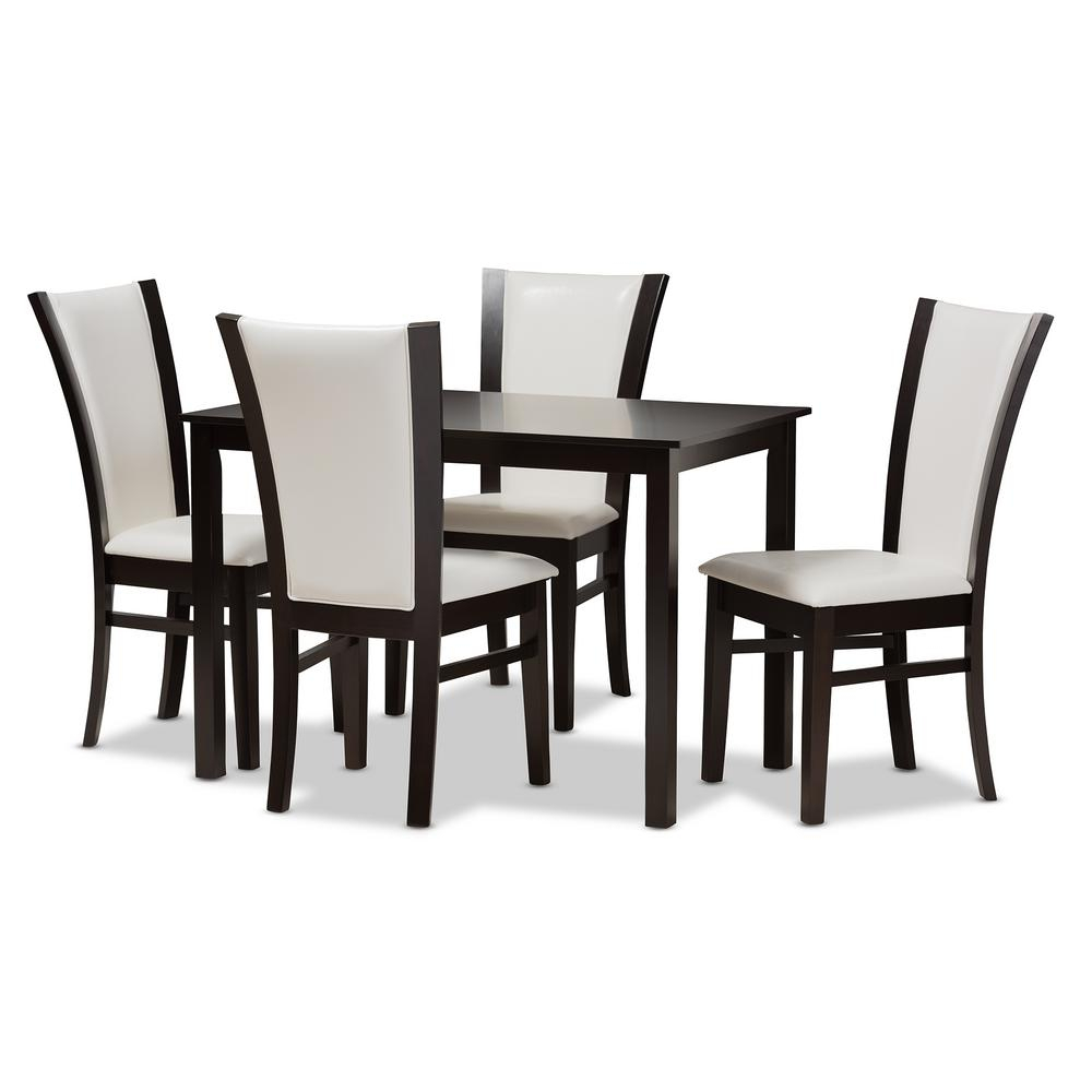 Baxton Studio Adley 5 Piece White And Dark Brown Dining Set 8034 With Newest Evellen 5 Piece Solid Wood Dining Sets (Set Of 5) (View 4 of 20)