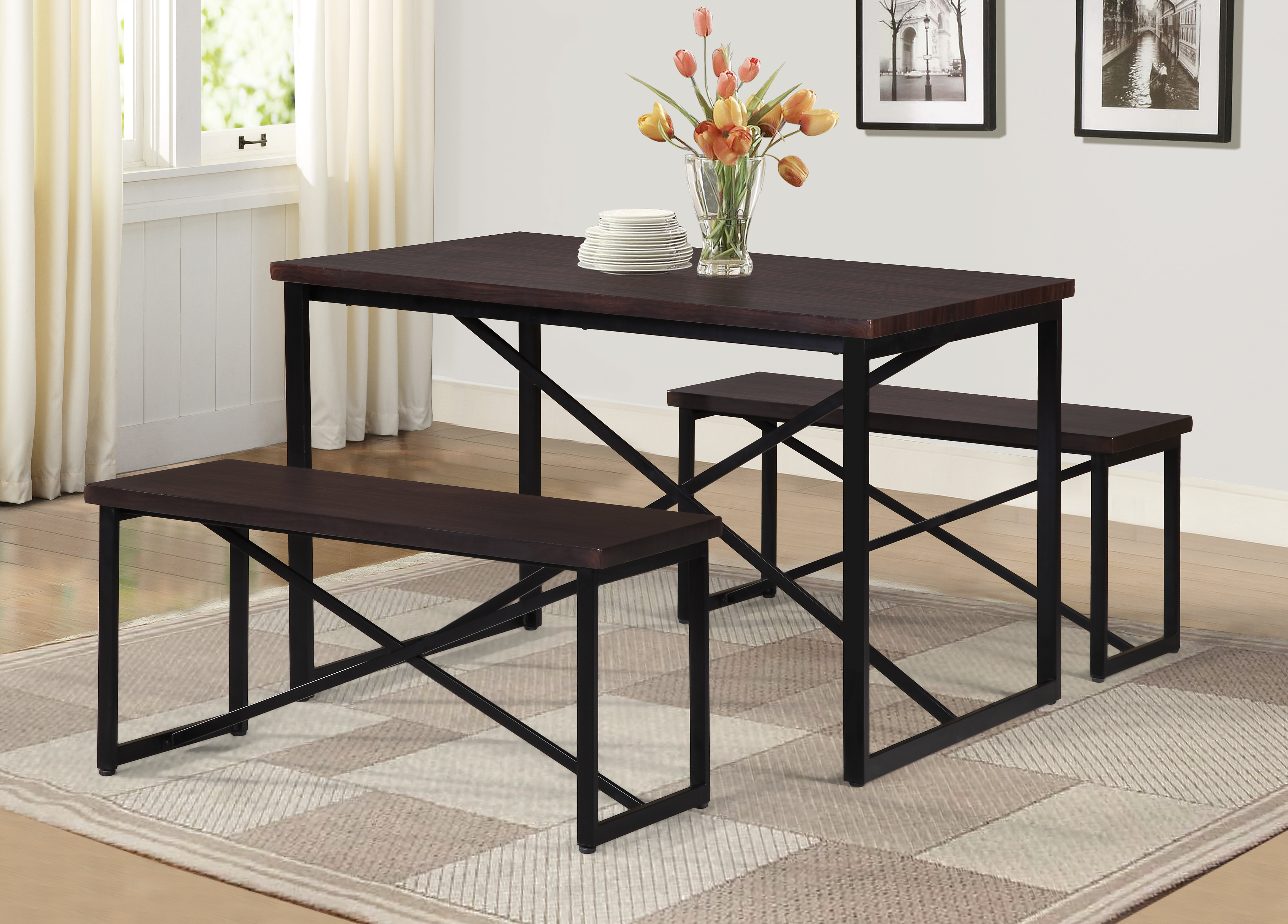 Bearden 3 Piece Dining Set Pertaining To Most Current Rossiter 3 Piece Dining Sets (Image 2 of 20)