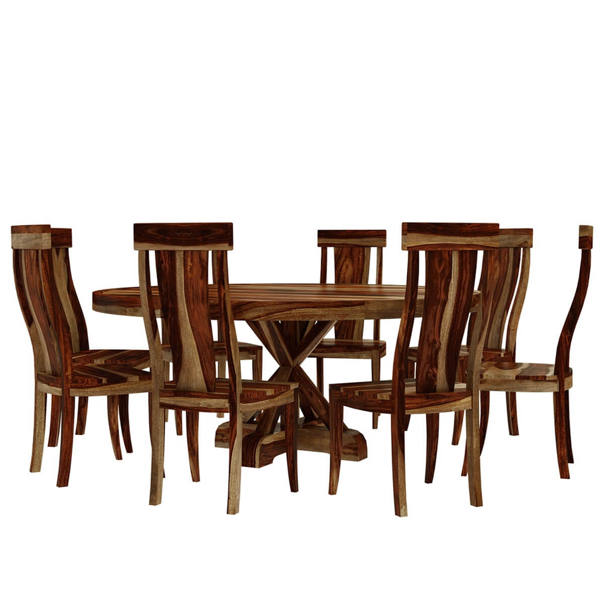 Bedford Rustic Solid Wood X Pedestal 10 Piece Round Dining Room Set In Best And Newest Bedfo 3 Piece Dining Sets (View 19 of 20)