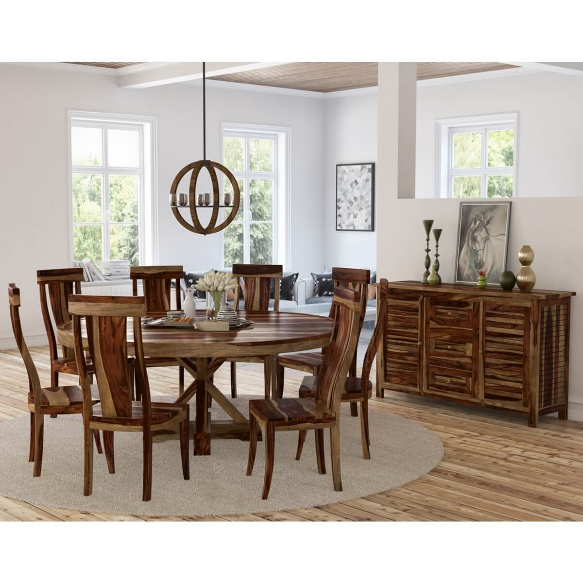 Bedford Rustic Solid Wood X Pedestal 10 Piece Round Dining Room Set Pertaining To Current Bedfo 3 Piece Dining Sets (View 6 of 20)