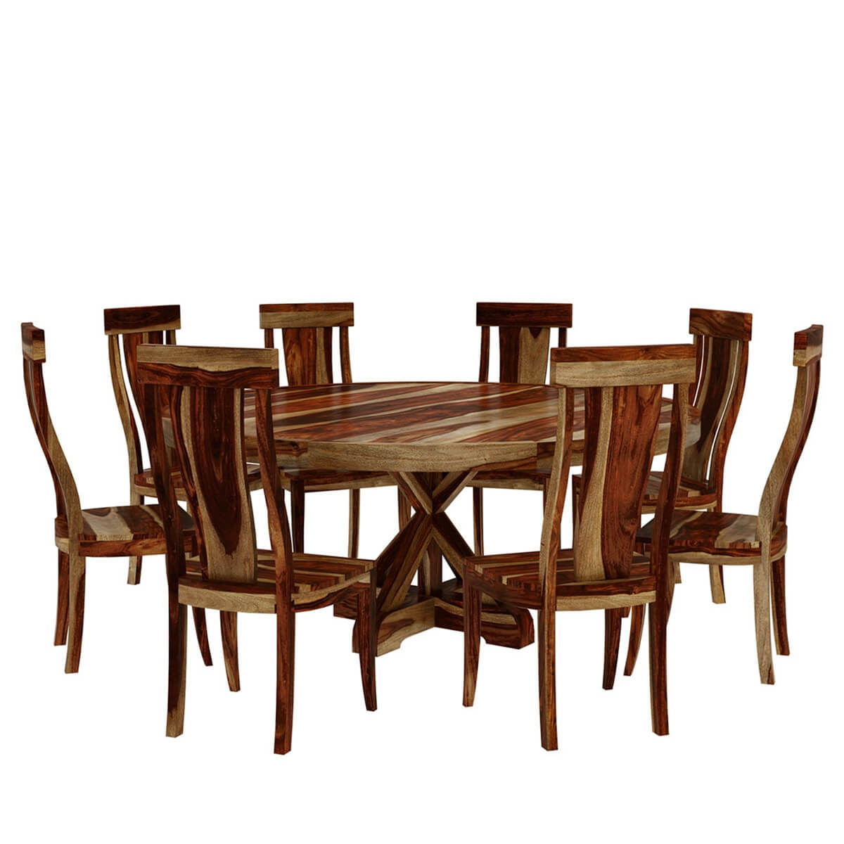 Bedford Rustic Solid Wood X Pedestal 10 Piece Round Dining Room Set Throughout 2017 Bedfo 3 Piece Dining Sets (View 9 of 20)