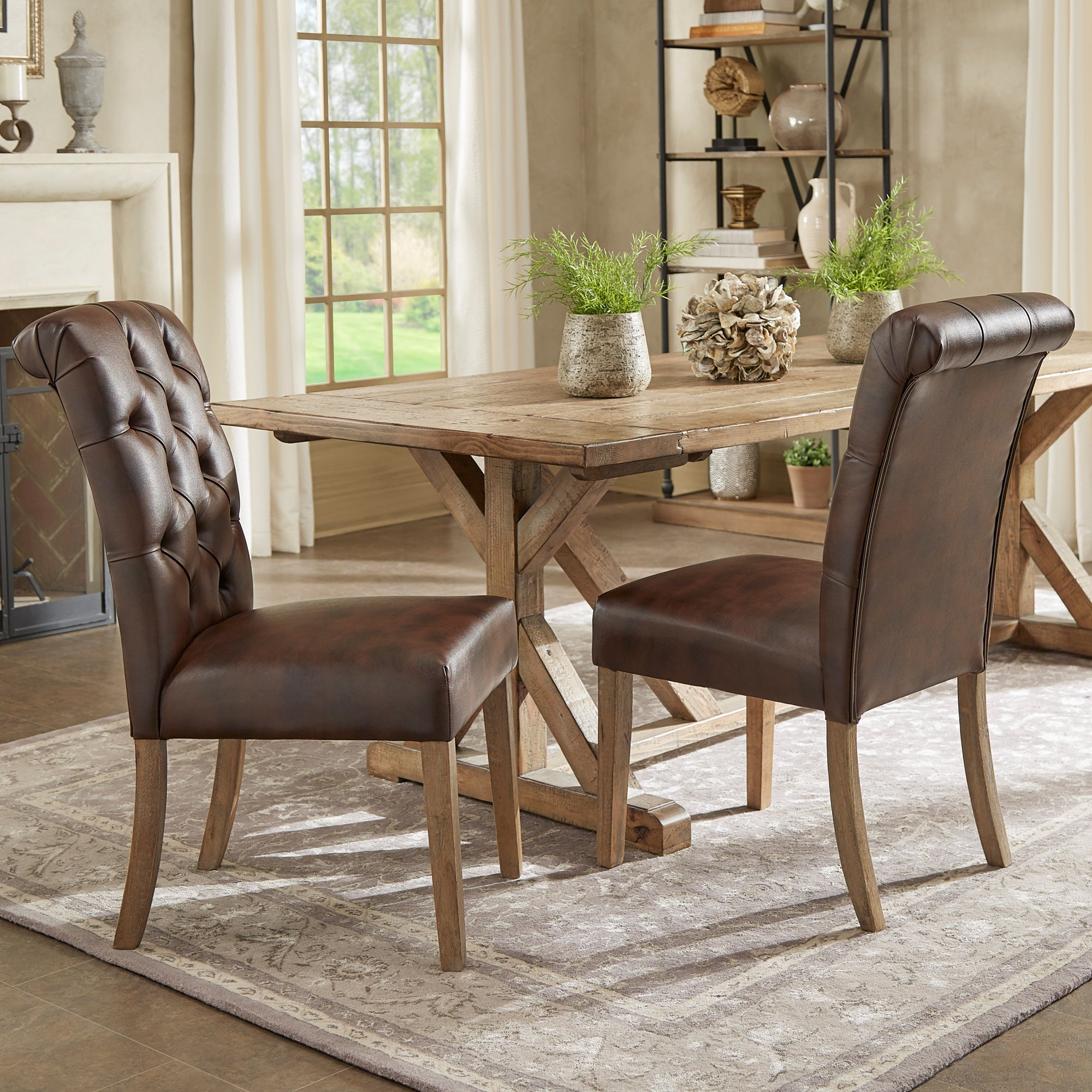 Benchwright Premium Tufted Rolled Back Parsons Chairs (Set Of 2)Inspire Q Artisan Regarding Latest Evellen 5 Piece Solid Wood Dining Sets (Set Of 5) (View 9 of 20)