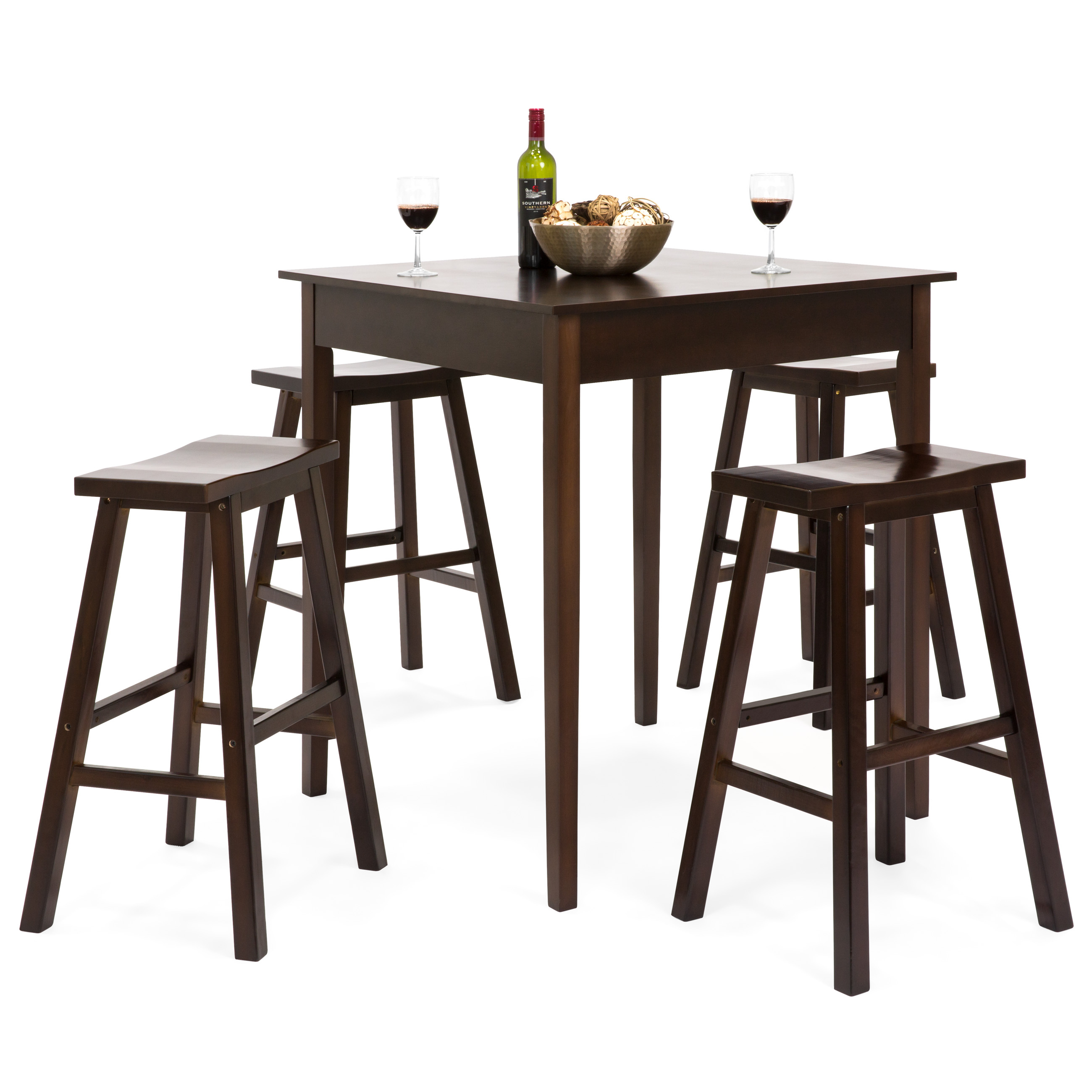 Best Choice Products 5 Piece Solid Wood Dining Pub Bar Table Set With 4 Backless Saddle Stools With Newest Biggs 5 Piece Counter Height Solid Wood Dining Sets (Set Of 5) (View 14 of 20)